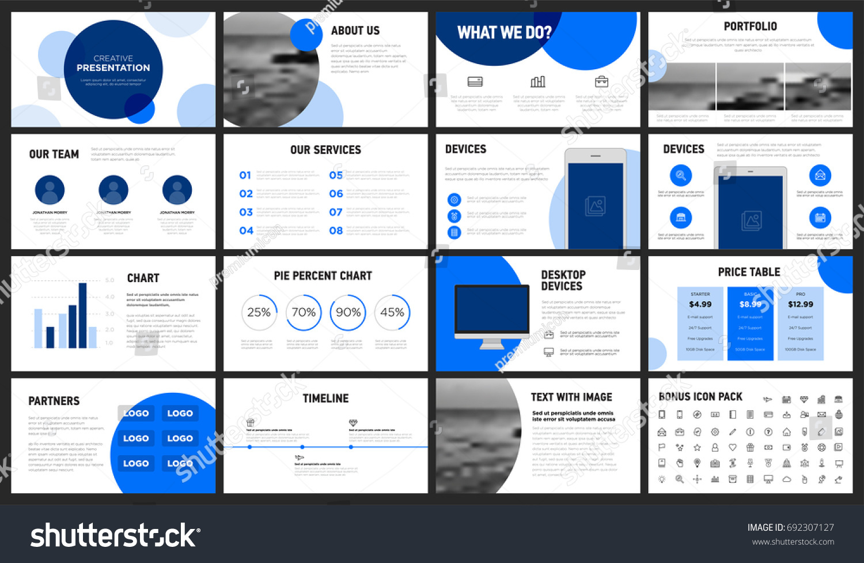 modern minimalist blue circles presentation template stock vector, Presentation templates