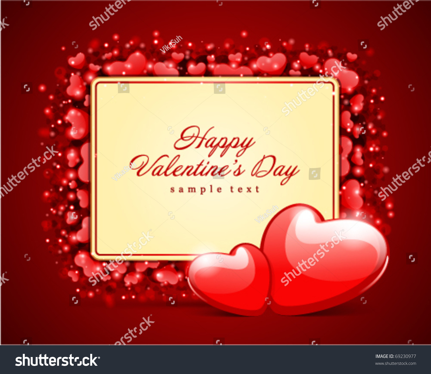 Hearts Card Frame Valentines Day Vector Stock Vector 69230977 ...