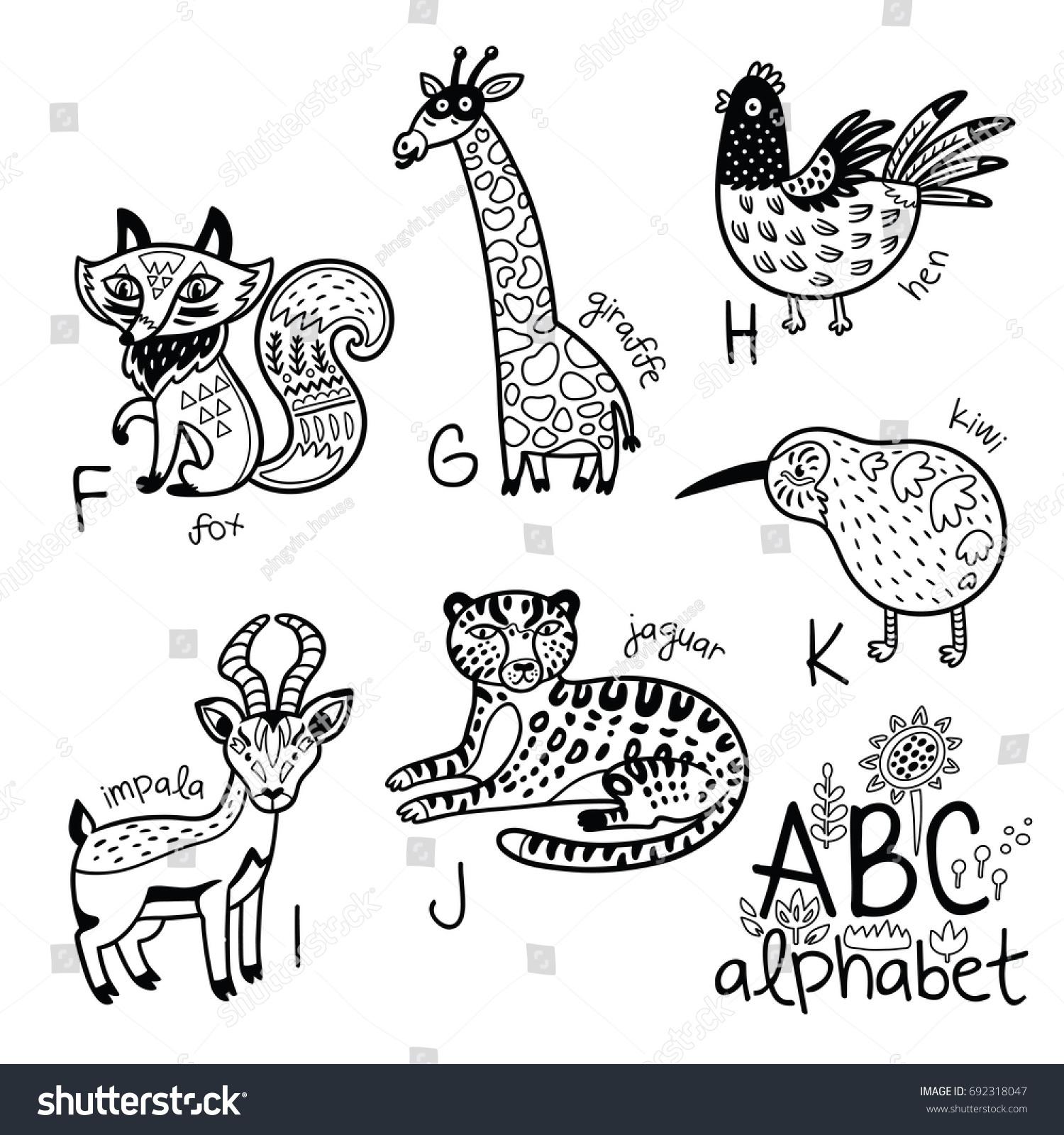Animals Alphabet F K Children Vector Stock Vector