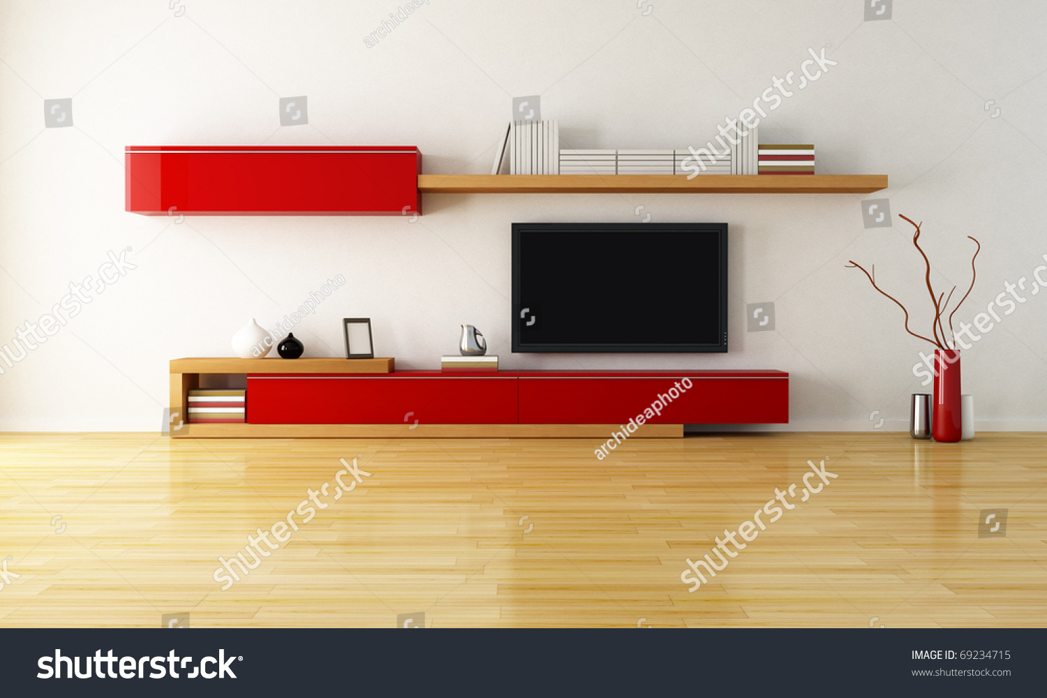 Lcd Tv Furniture For Living Room Minimalist Living Room Cabinet Shelves Lcd Stock Illustration