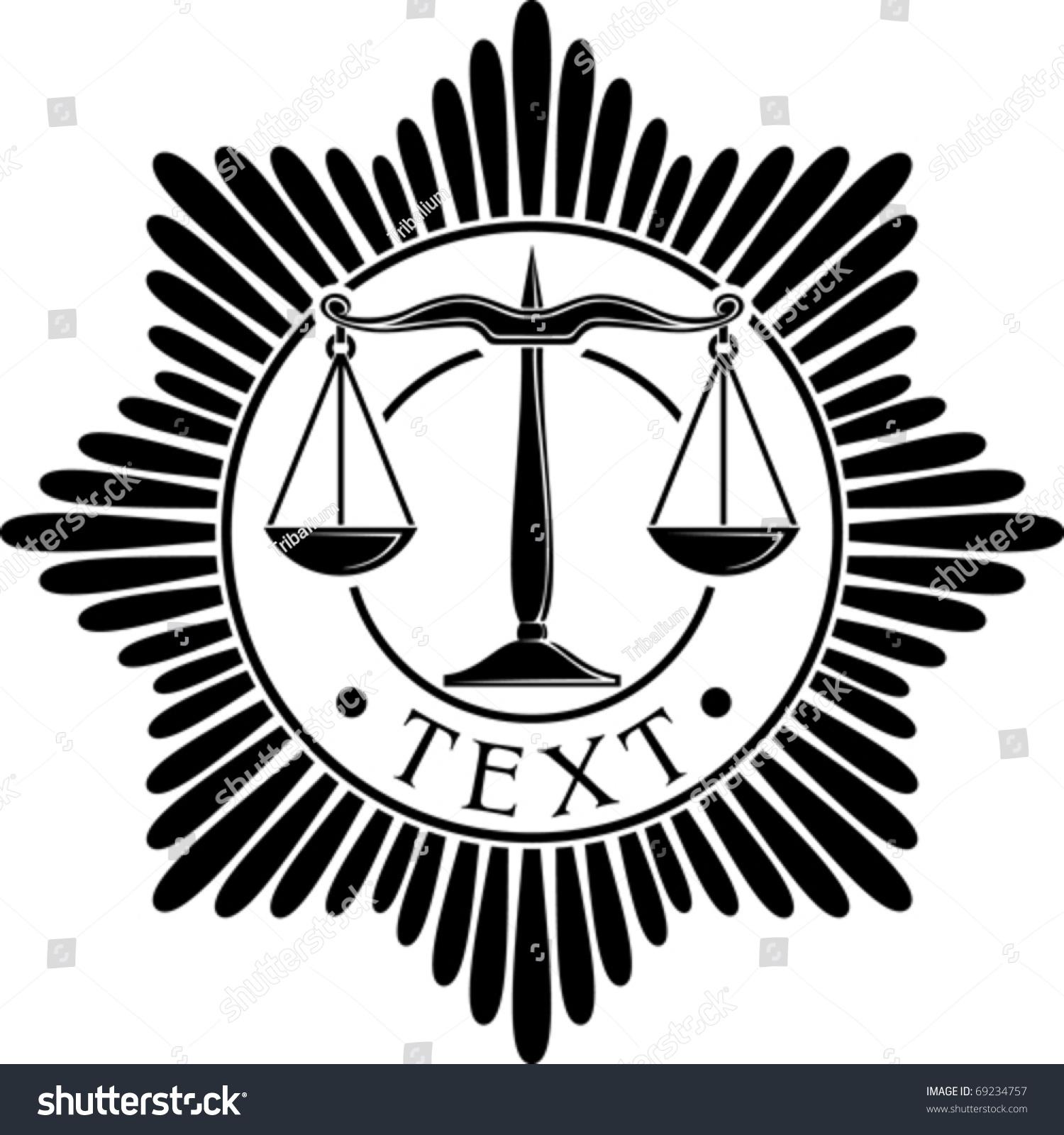 Scales justice badge symbol order emblem stock vector 69234757 scales of justice badge symbol order emblem buycottarizona