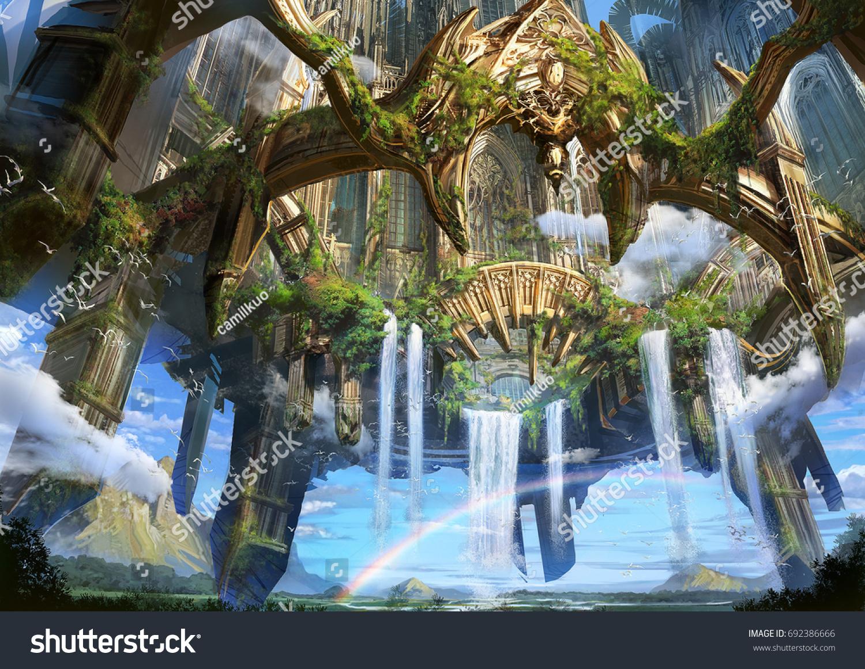 digital illustration fantasy medieval environment landscape stock