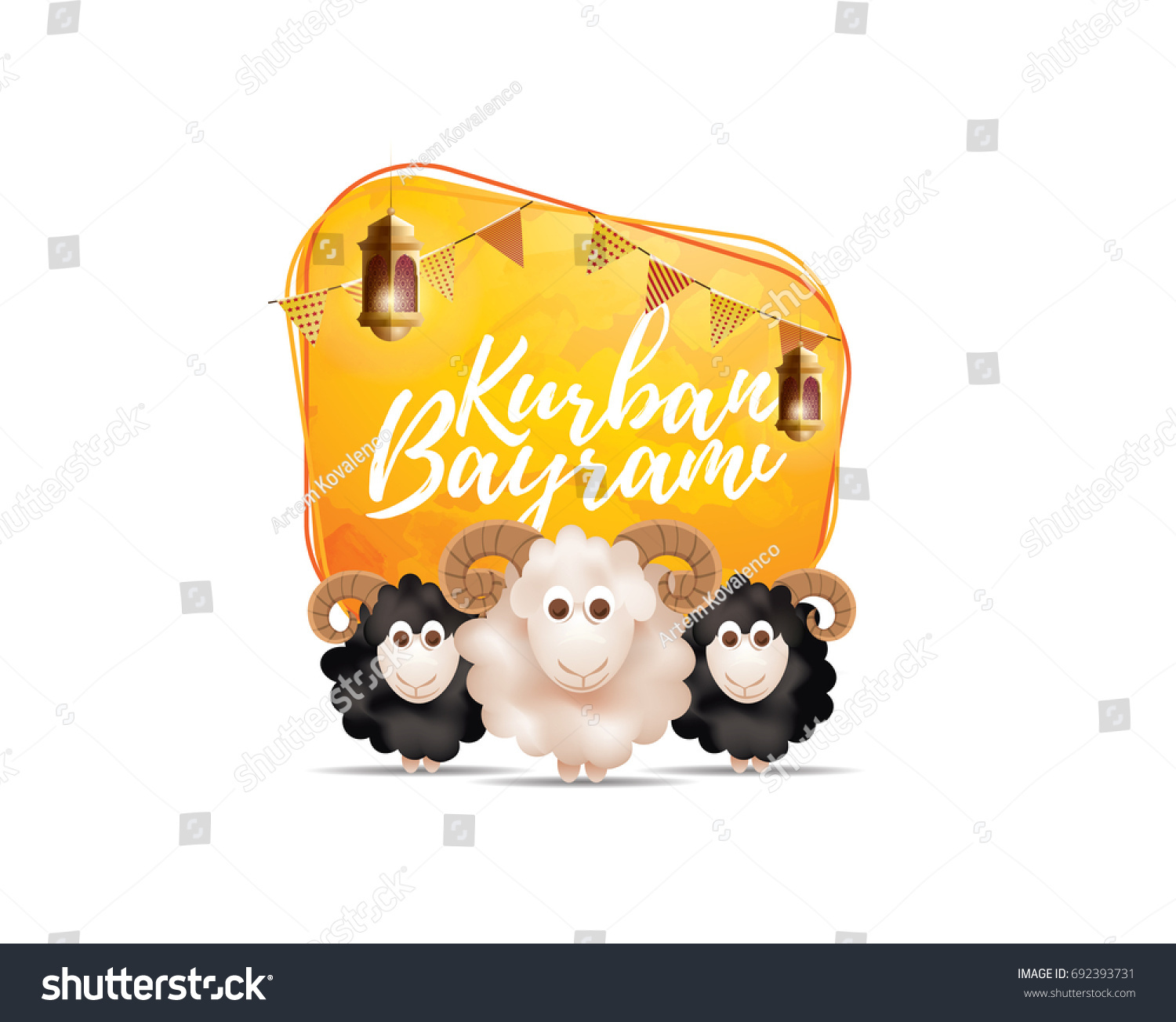 vector illustration. Muslim holiday Kurban Bayrami. sacrifice a ram or white and black sheep. graphic design decoration of flyers, posters, .month lamb and lamp.Translation from Turkish: Eid al-Adha #692393731
