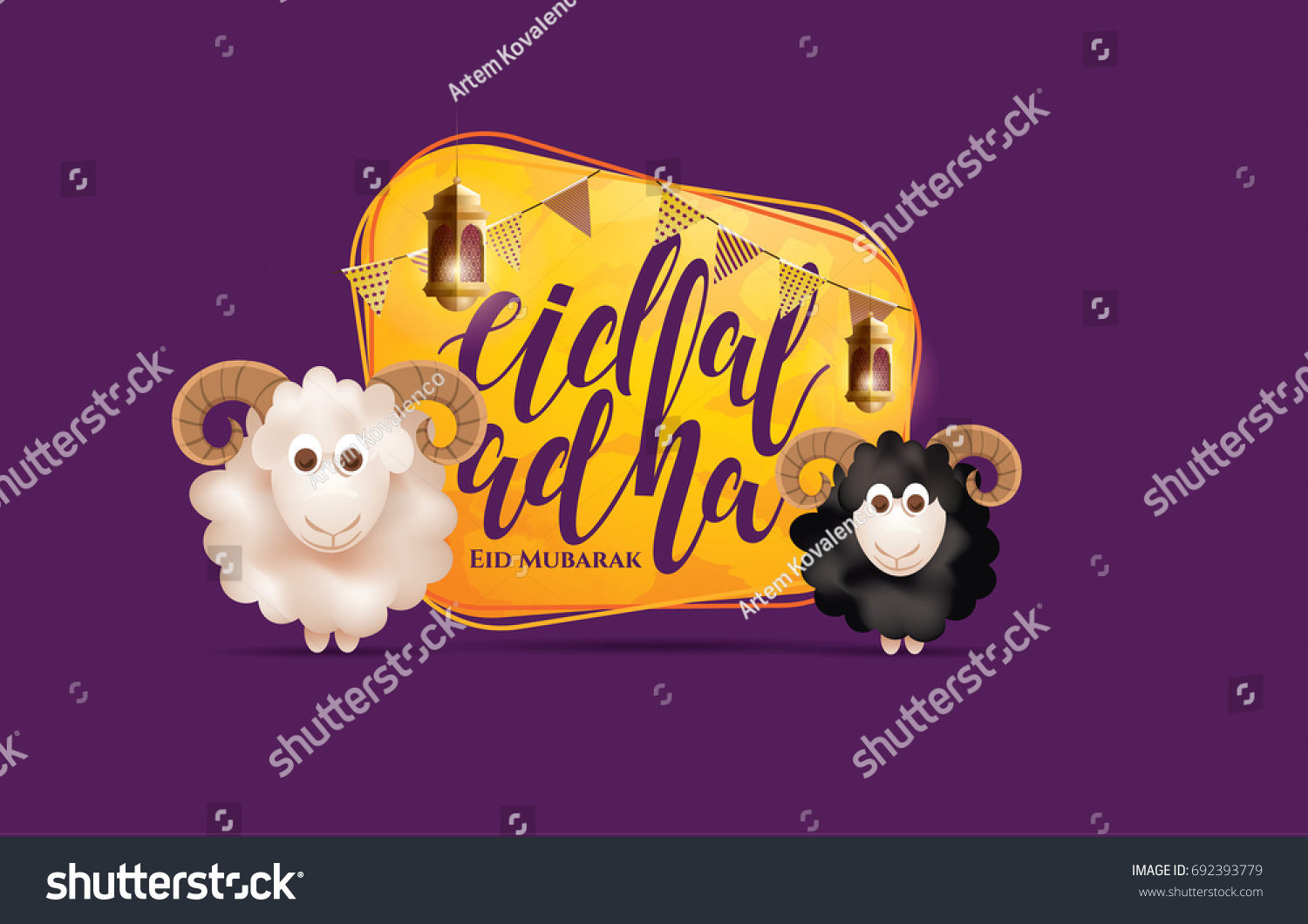 vector illustration. Muslim holiday Eid al-Adha. the sacrifice a ram or white and black sheep. graphic design decoration kurban bayrami. month lamb and a lamp.Translation from Arabic: Eid al-Adha #692393779