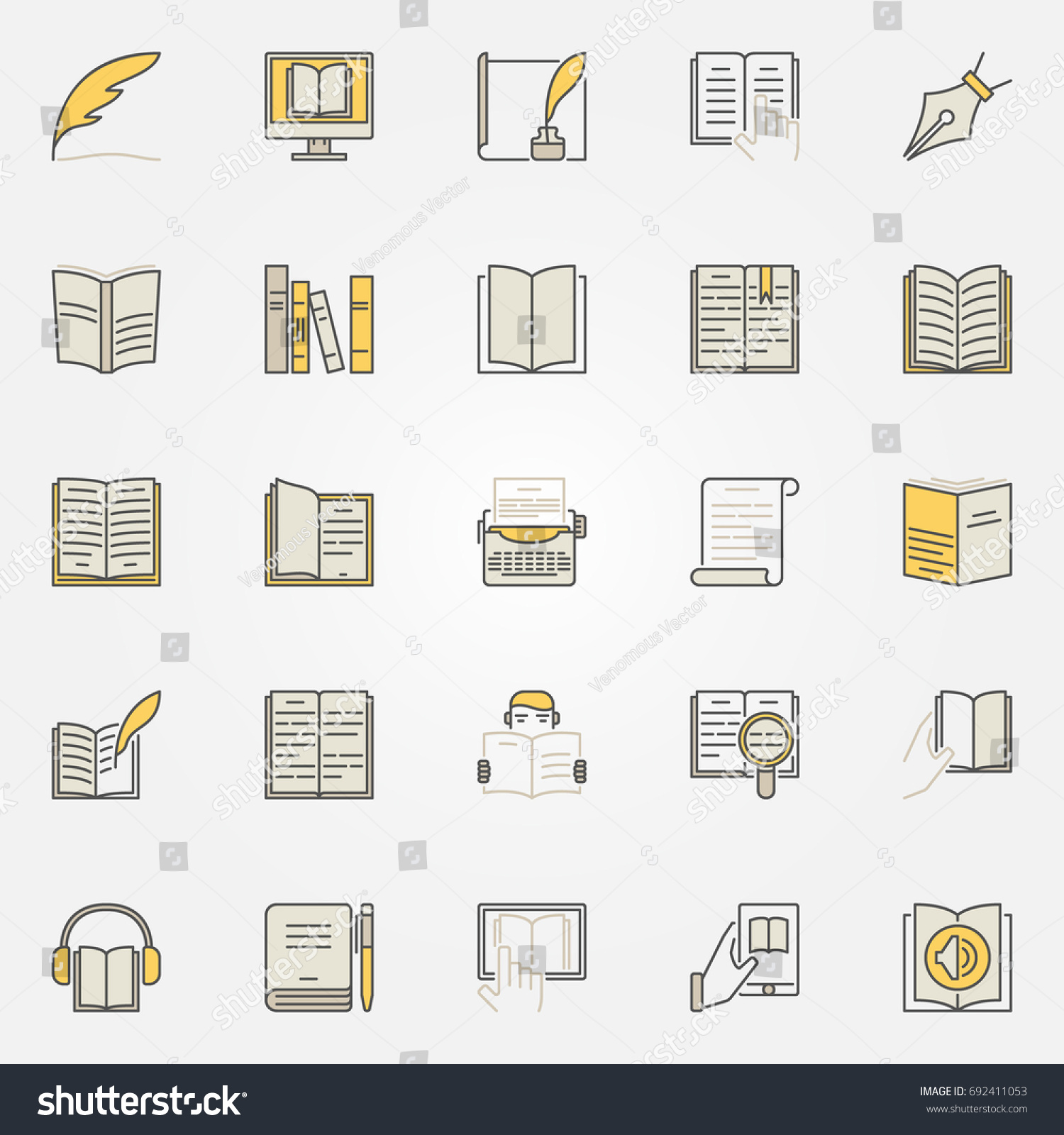 Literature colorful icons set vector reading stock vector literature colorful icons set vector reading and writing creative symbols book modern signs or biocorpaavc