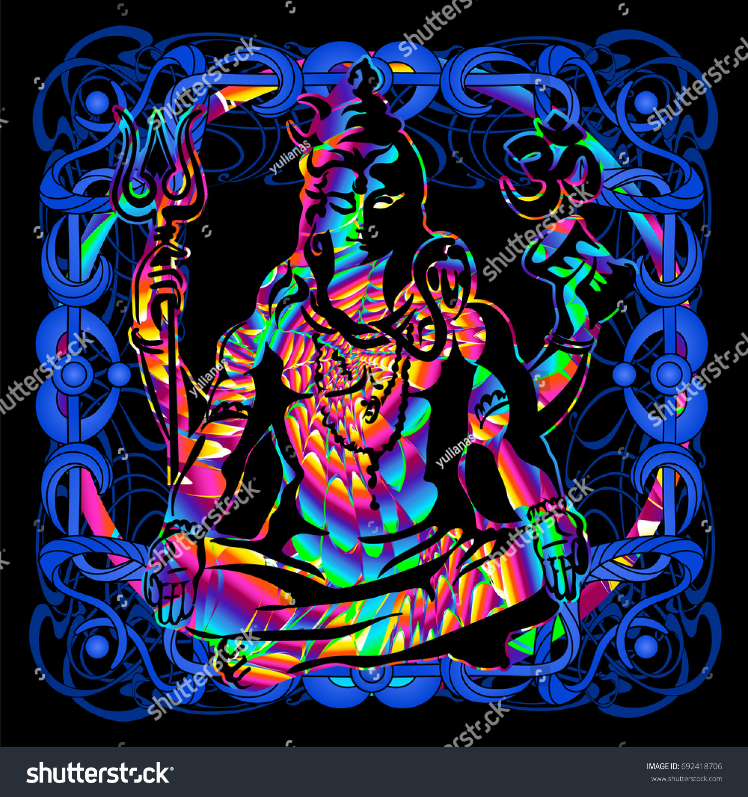 The lord shiva is a psychedelic painting in a retro style popular vintage graphics postcard
