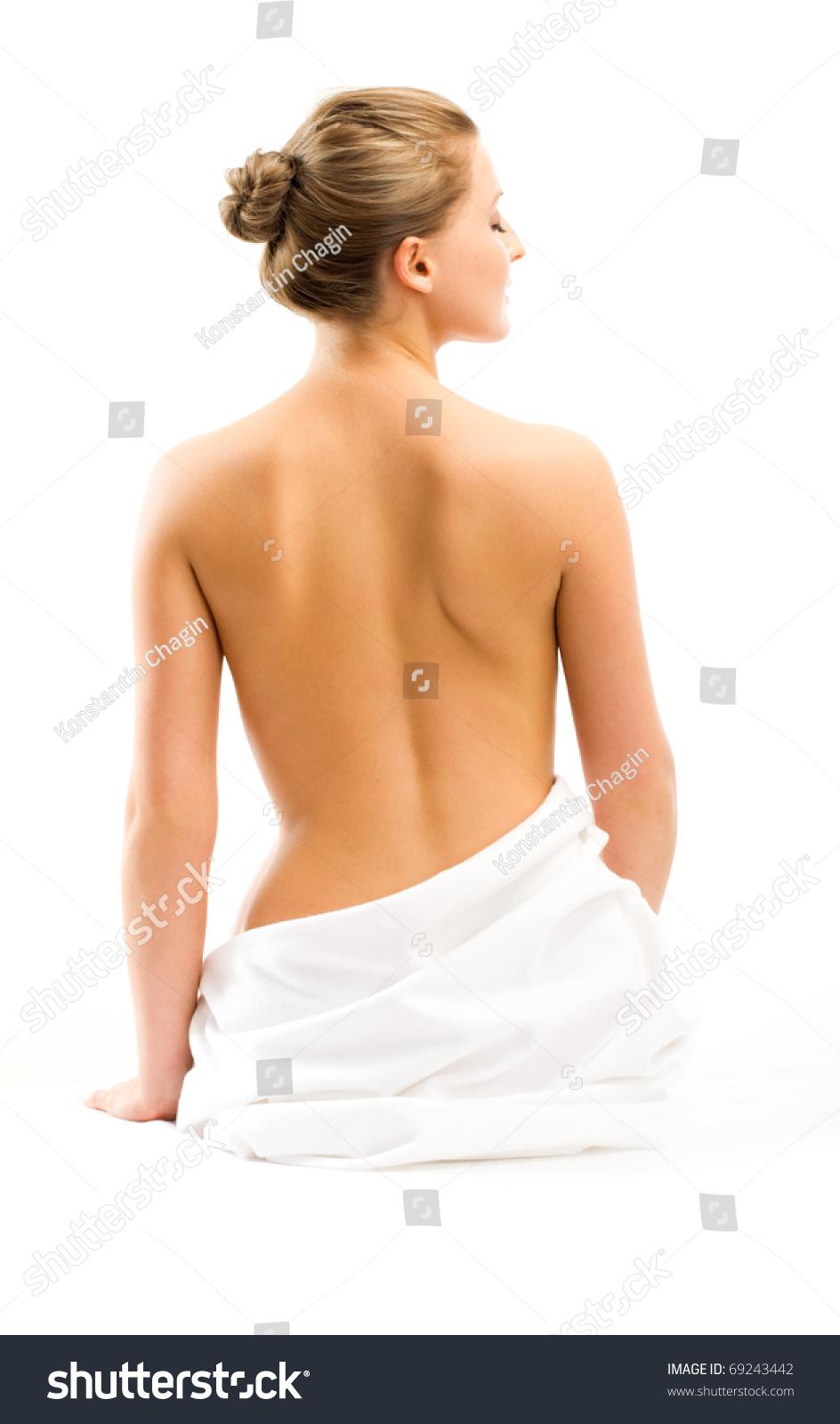 Back Beautiful Woman On White Background Stock Photo