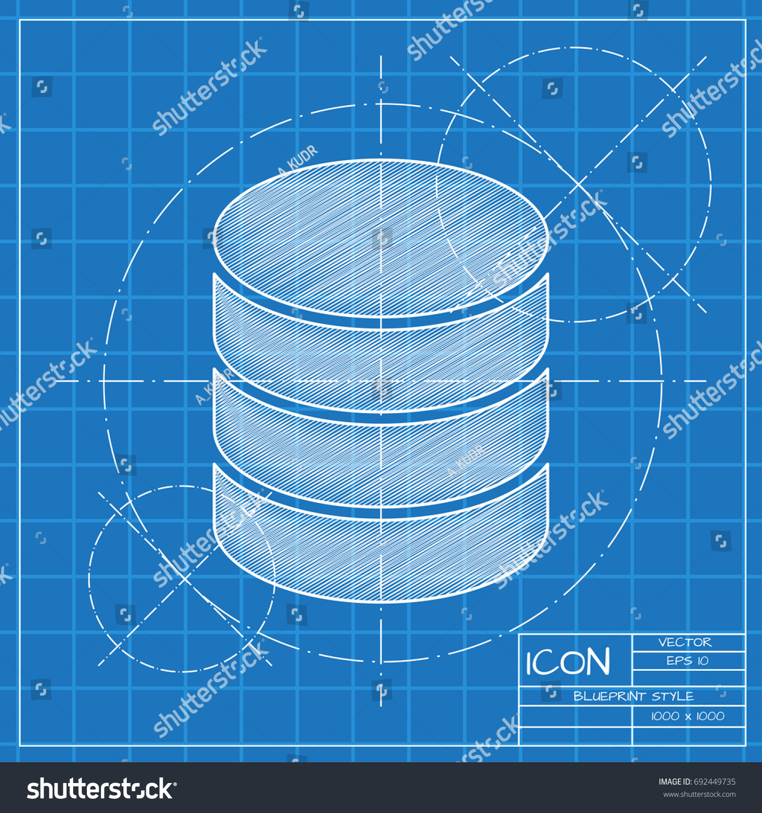 Fantastic blueprint database contemporary electrical and wiring vector blueprint database icon on engineer stock vector 692449735 malvernweather Gallery