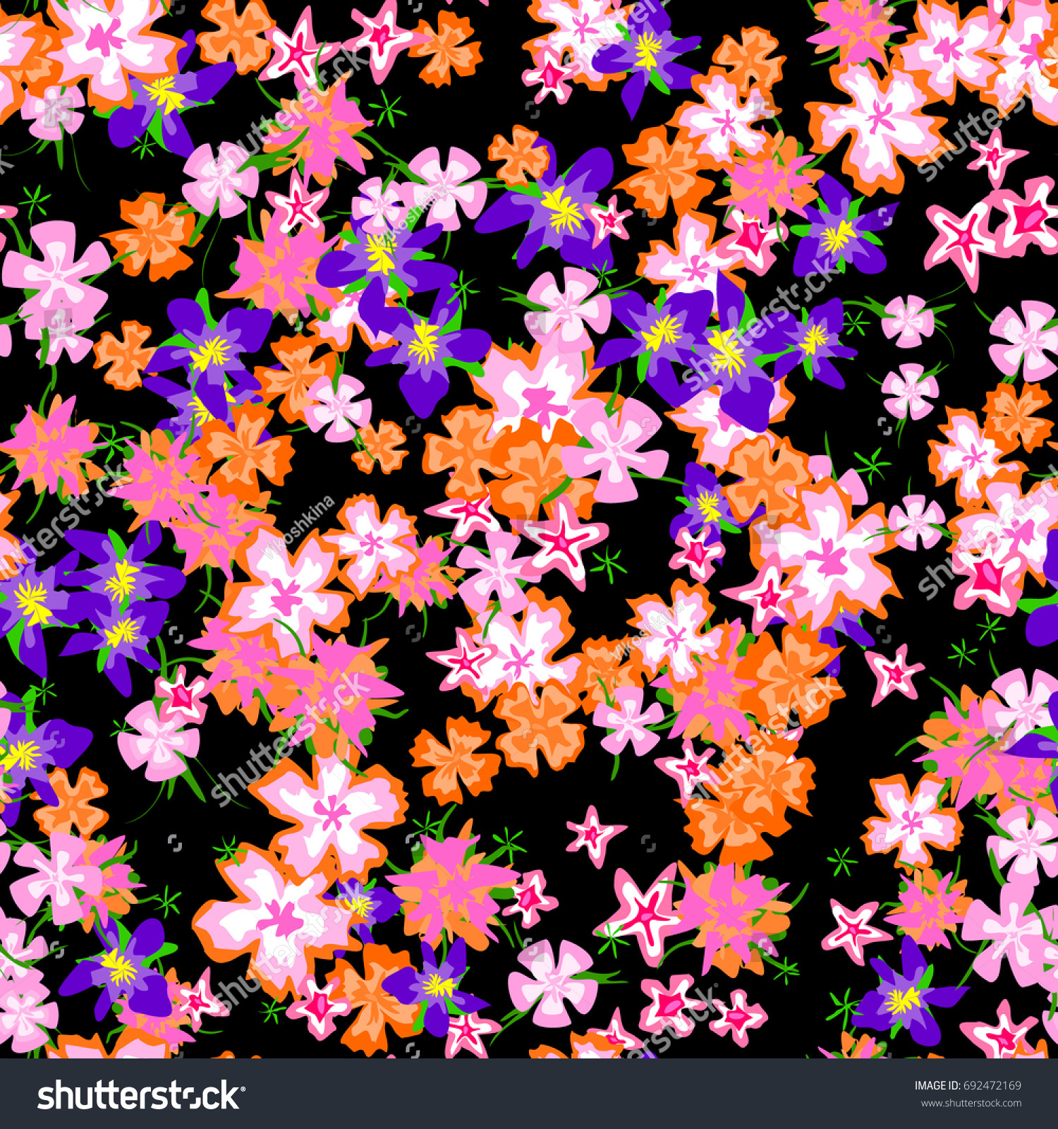 Pretty Floral Pattern Simple Small Blossoms Stock Vector 692472169