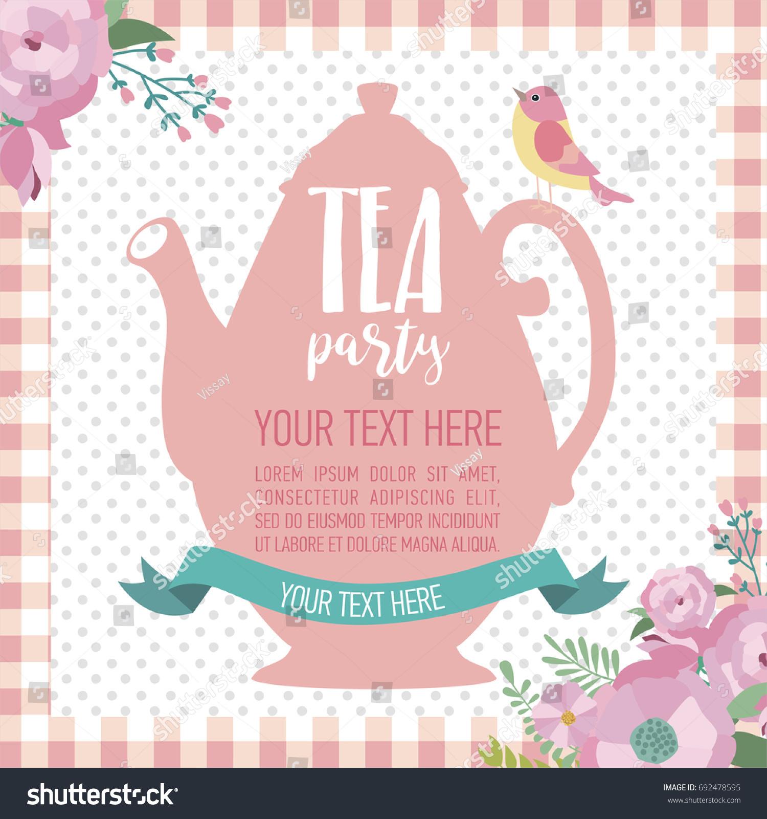 Tea Party Invitation Card Vector Illustration Stock Vector ...