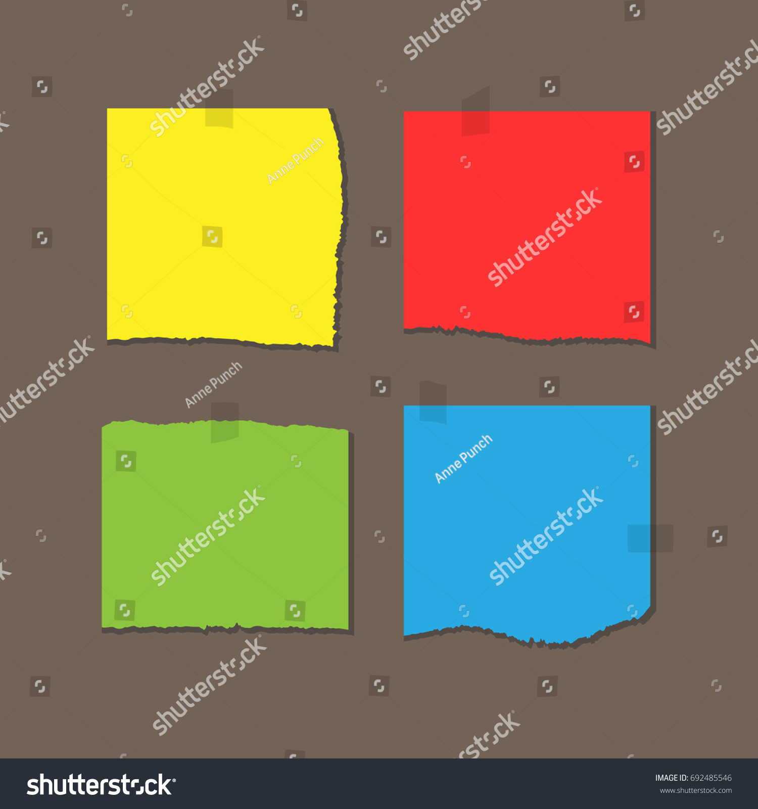 Square Colored Sheets Paper Torn Edges Stock Vector 692485546 ...