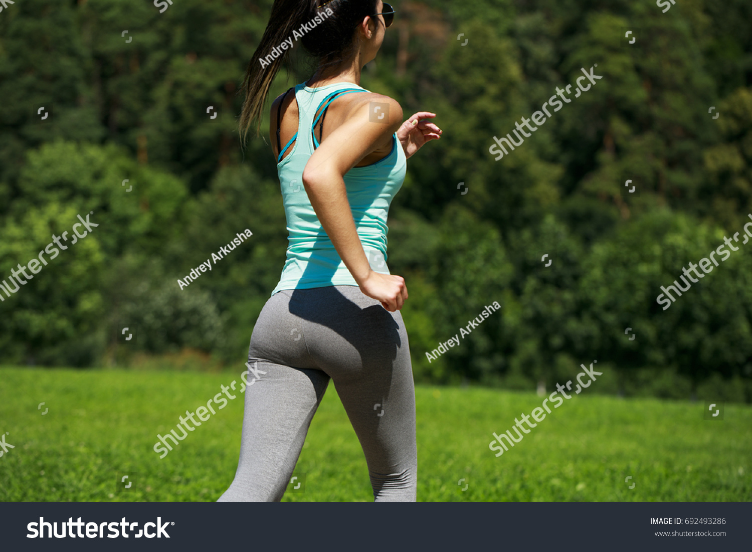 close sexy ass athletic woman working stock photo (royalty free