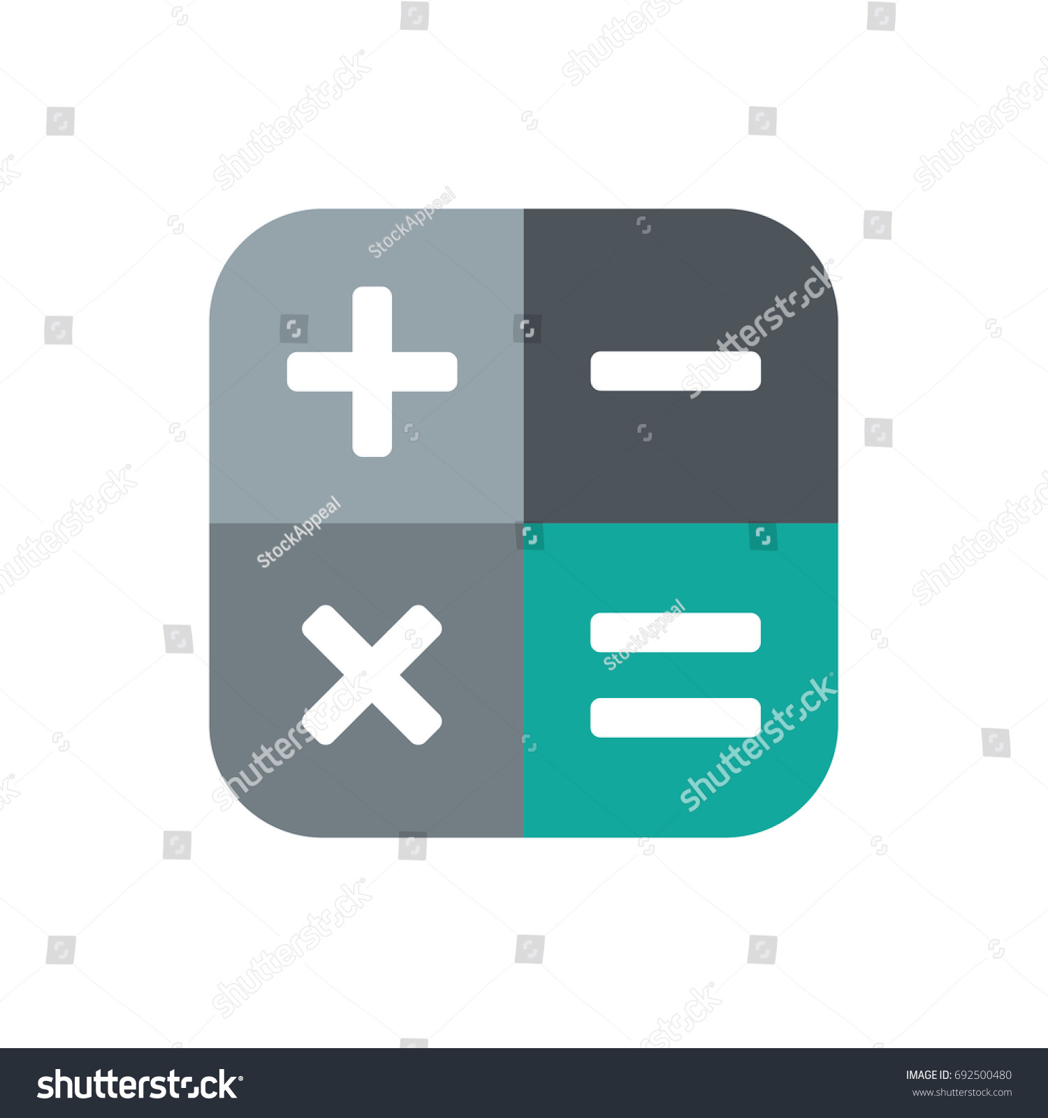 Square Math Calculator App Icon Plus Stock Vector (Royalty Free ...