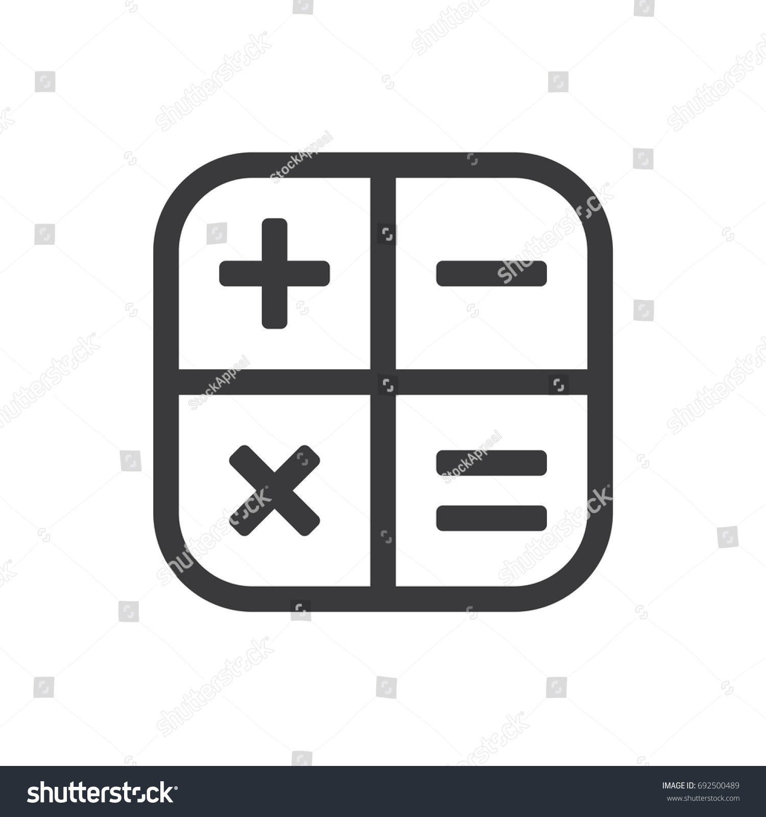 Square math calculator app icon with plus, minus, times and equal.