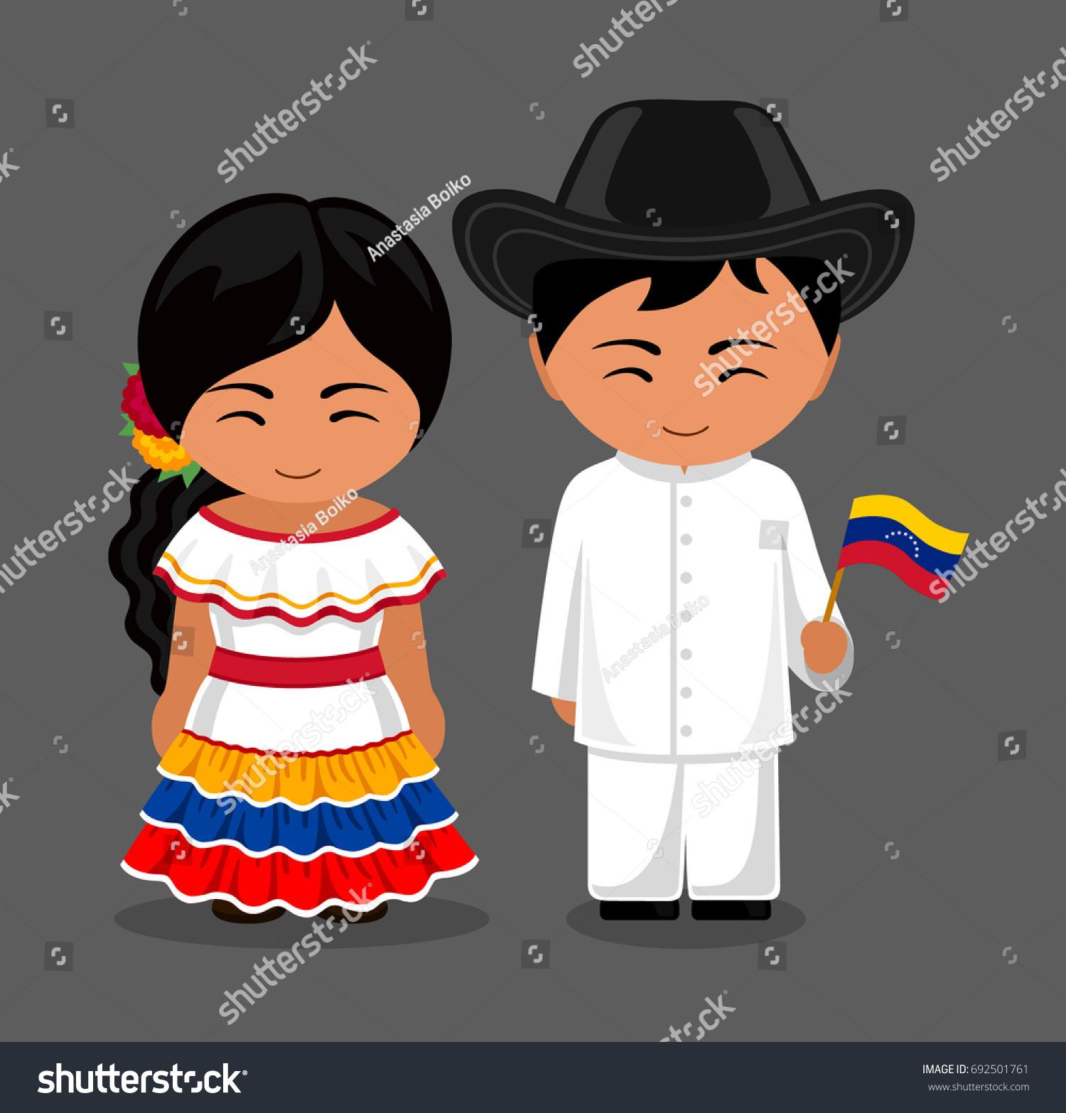 Venezuelans National Dress Flag Man Woman Stock Vector
