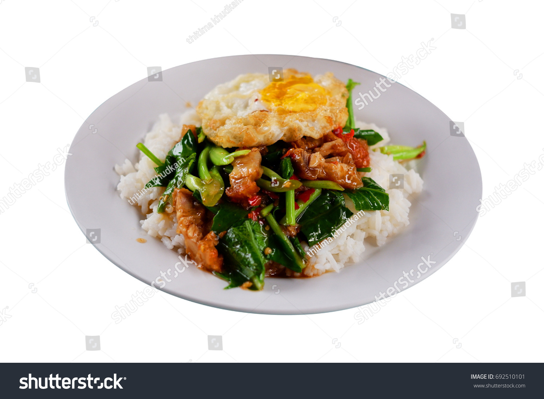 Stir Fry Kai Land Crispy Pork Stock Photo (Edit Now) 692510101