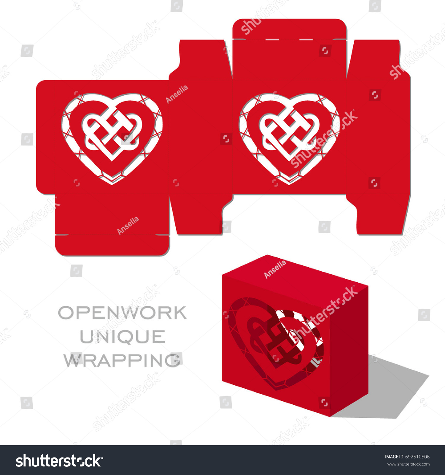 Vector Wedding Laser Cut Template Box Stock Vector (Royalty Free ...