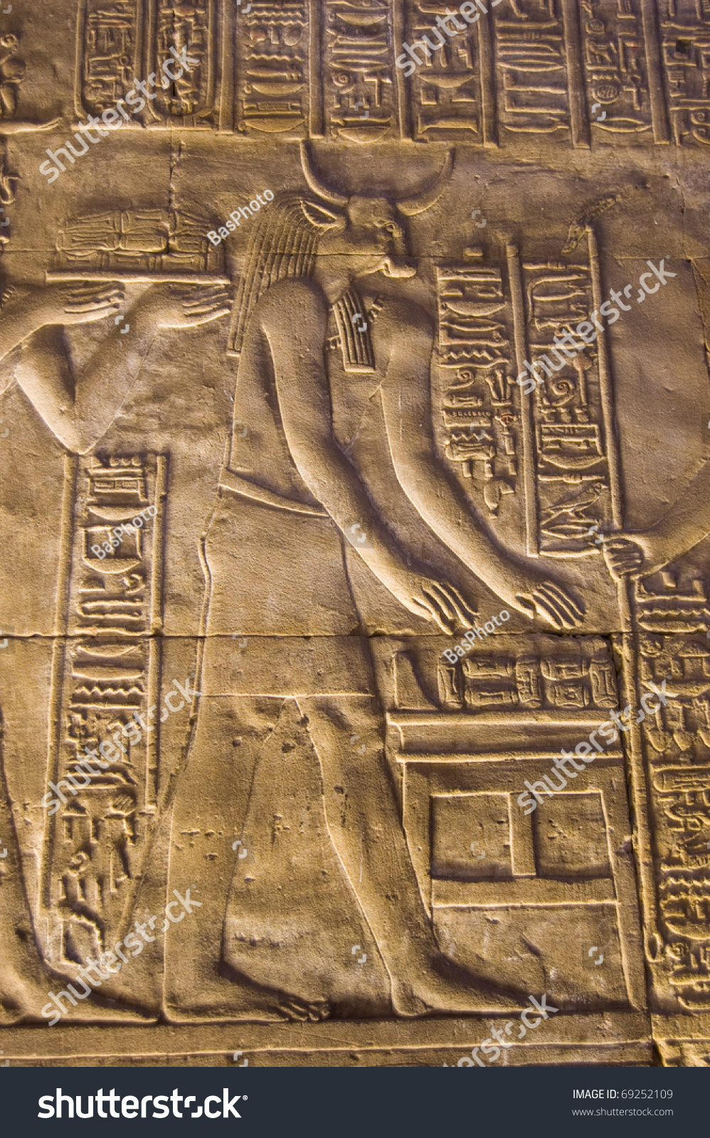 Ancient egyptian stone carved frieze showing stock photo