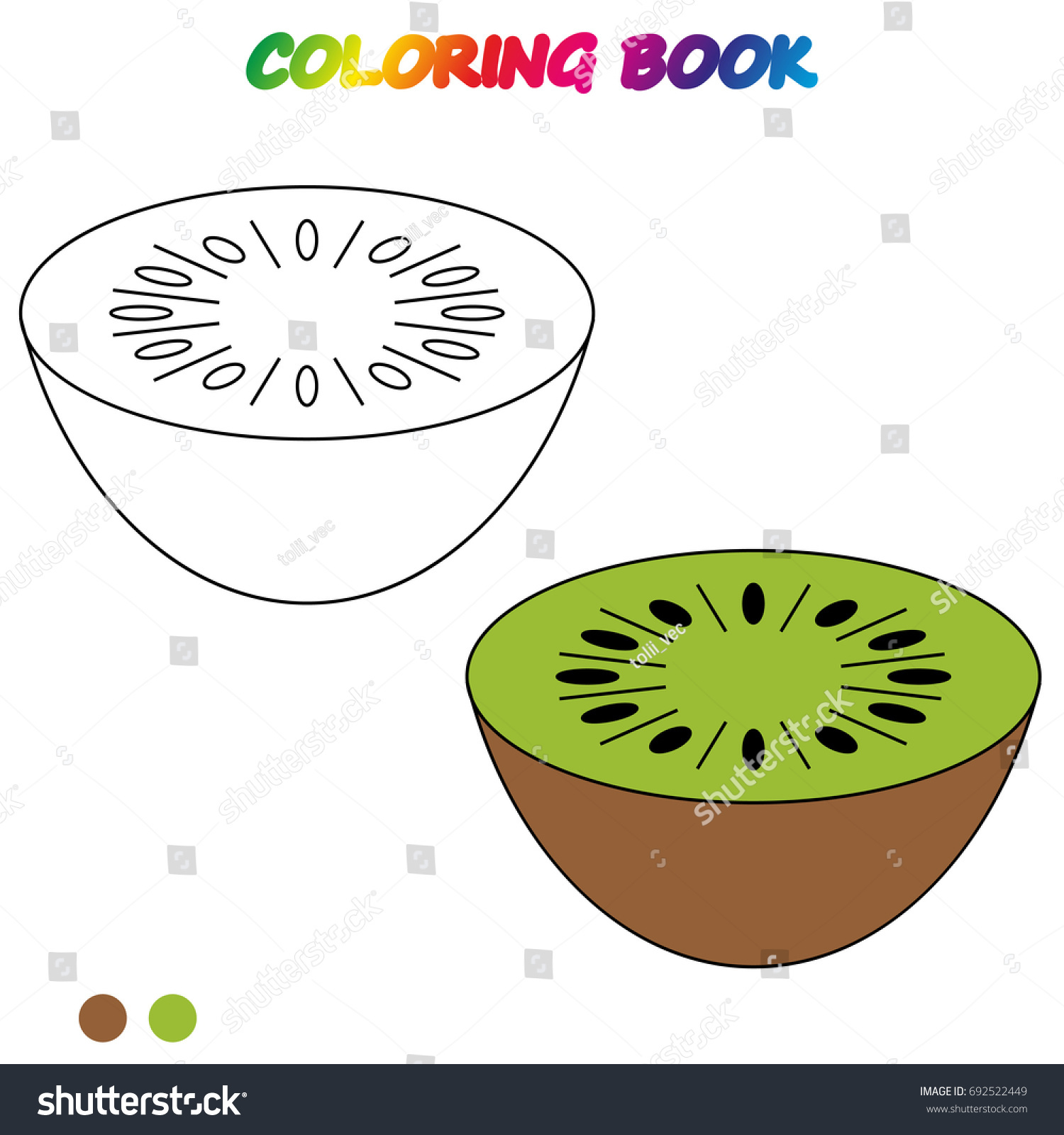 Kiwi Coloring Book Worksheet Game Kids Stock Vector 692522449 ...