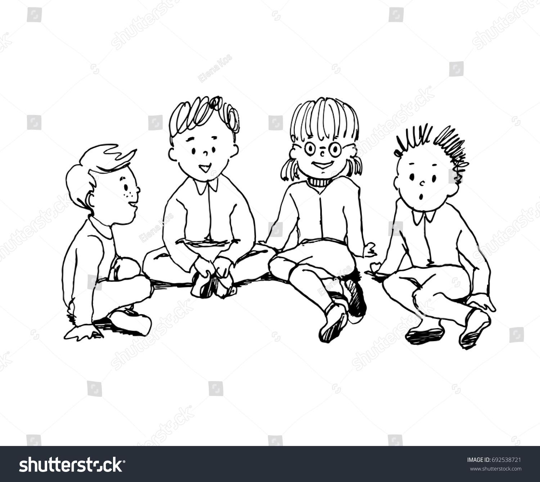 illustration kids sitting on floor talking stock vector (royalty