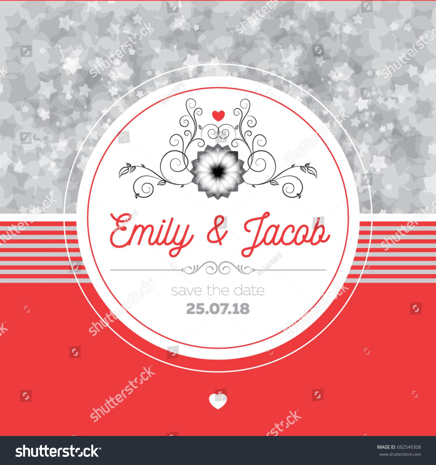 Wedding Invitation Card Design Silver Stars Stock Vector (Royalty ...