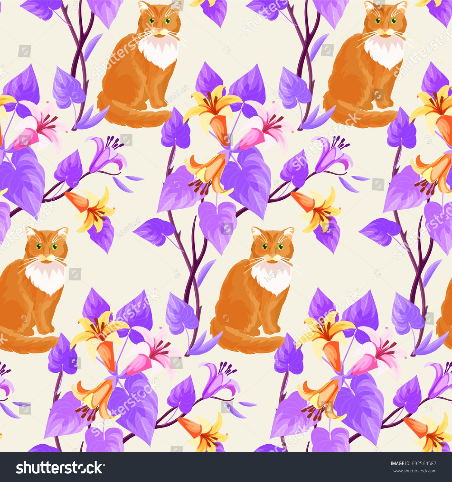 Cats garden flowers lily seamless pattern stock vector 692564587 cats and garden flowers of lily seamless pattern izmirmasajfo
