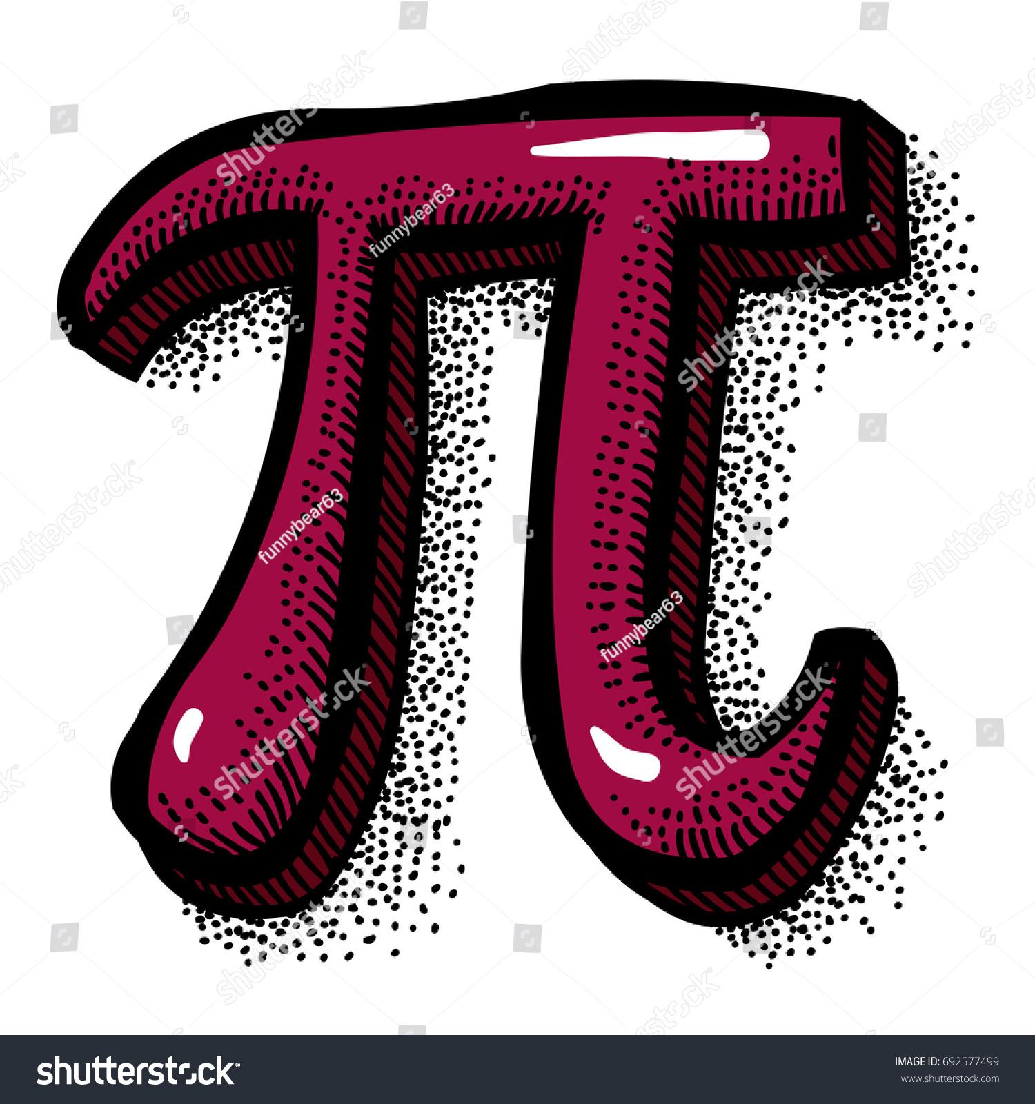 Cartoon Image Pi Symbol Artistic Freehand Stock Vector Royalty Free