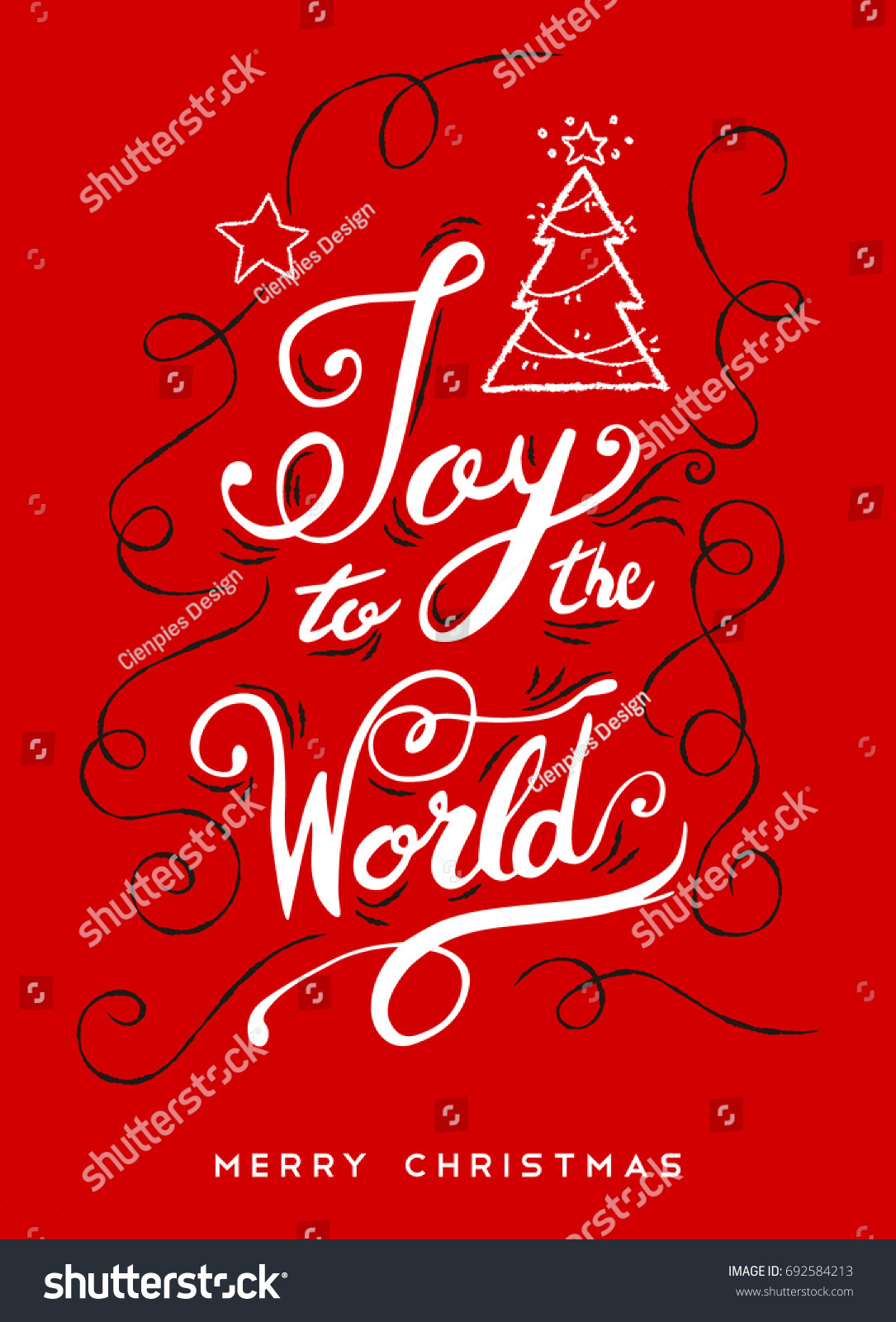 Joy World Christmas Calligraphy Quote Ornamental Stock Vector ...