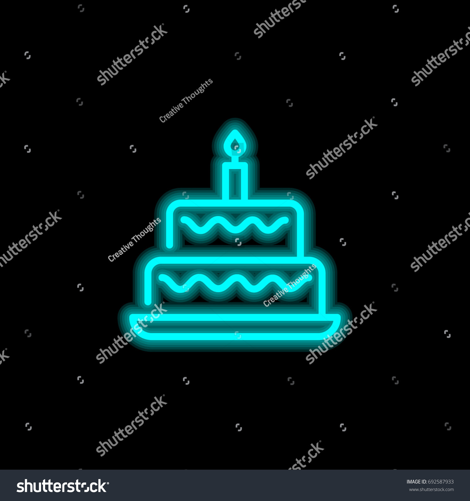 Birthday Cake Blue Glowing Neon Ui Stock Vector 692587933 Shutterstock