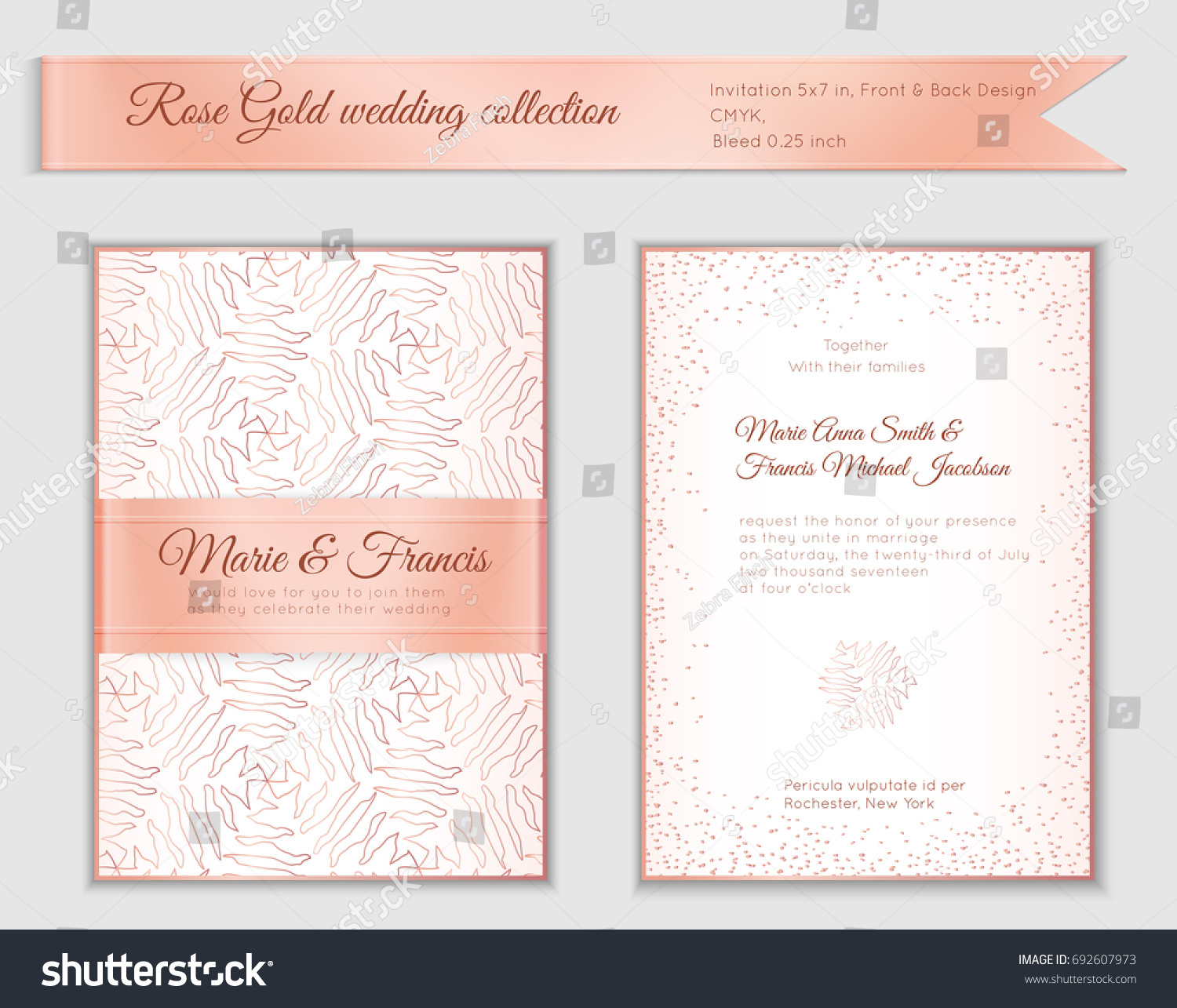 Luxury wedding invitation template rose gold stock vector luxury wedding invitation template with rose gold shiny realistic ribbon back and front card layout stopboris Images