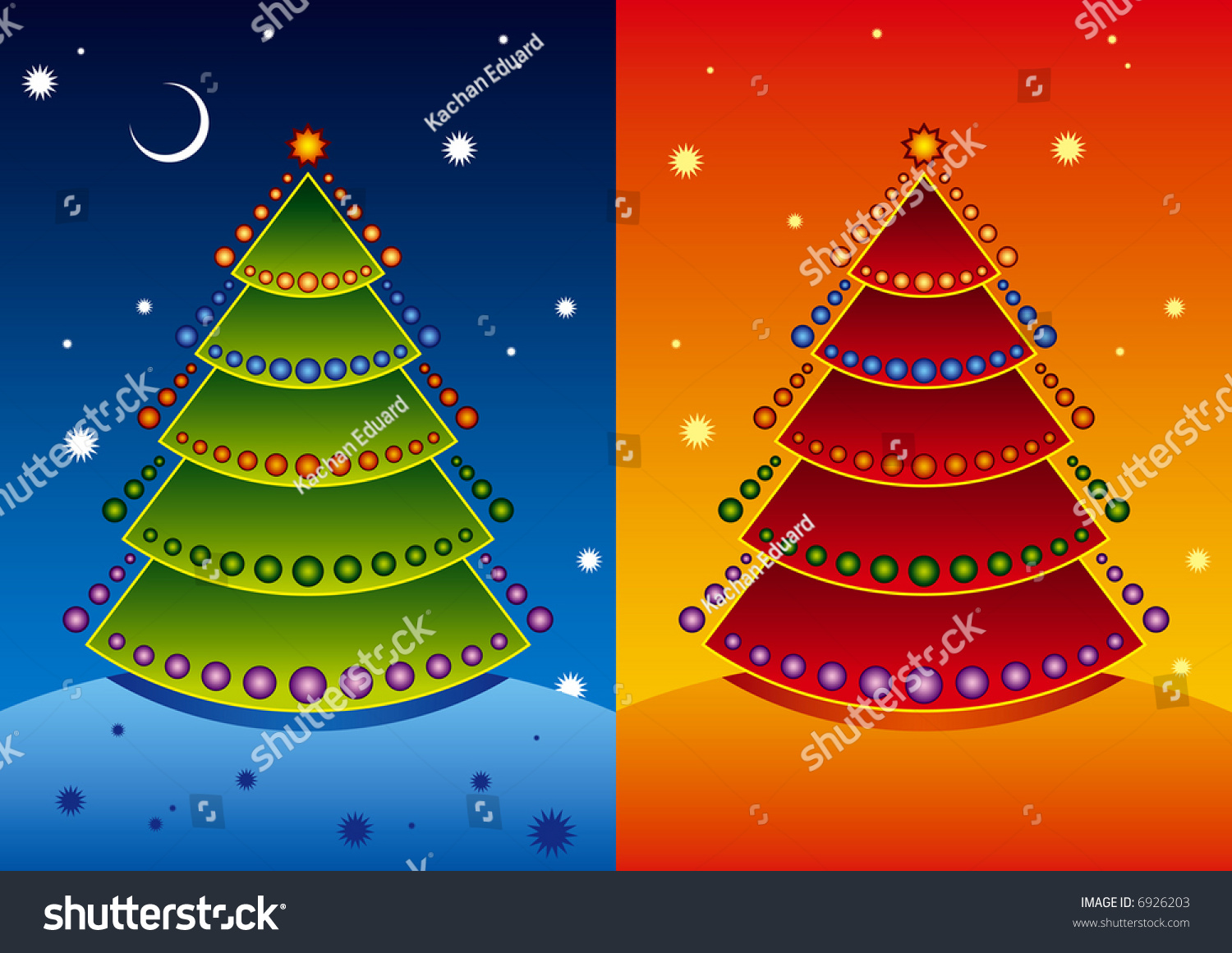 Vector Illustration Christmas Tree Two Color Stock Vector Royalty Free 6926203