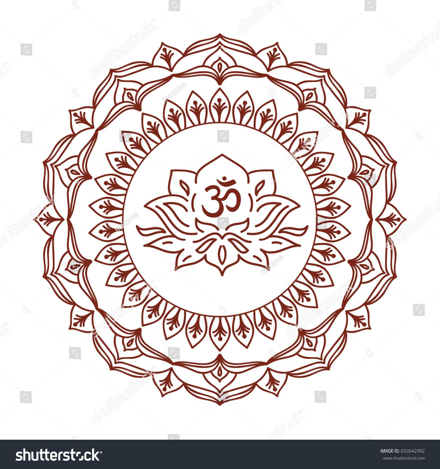 Om Symbol Hand Drawn Mandala Lotus Stock Vector Royalty Free
