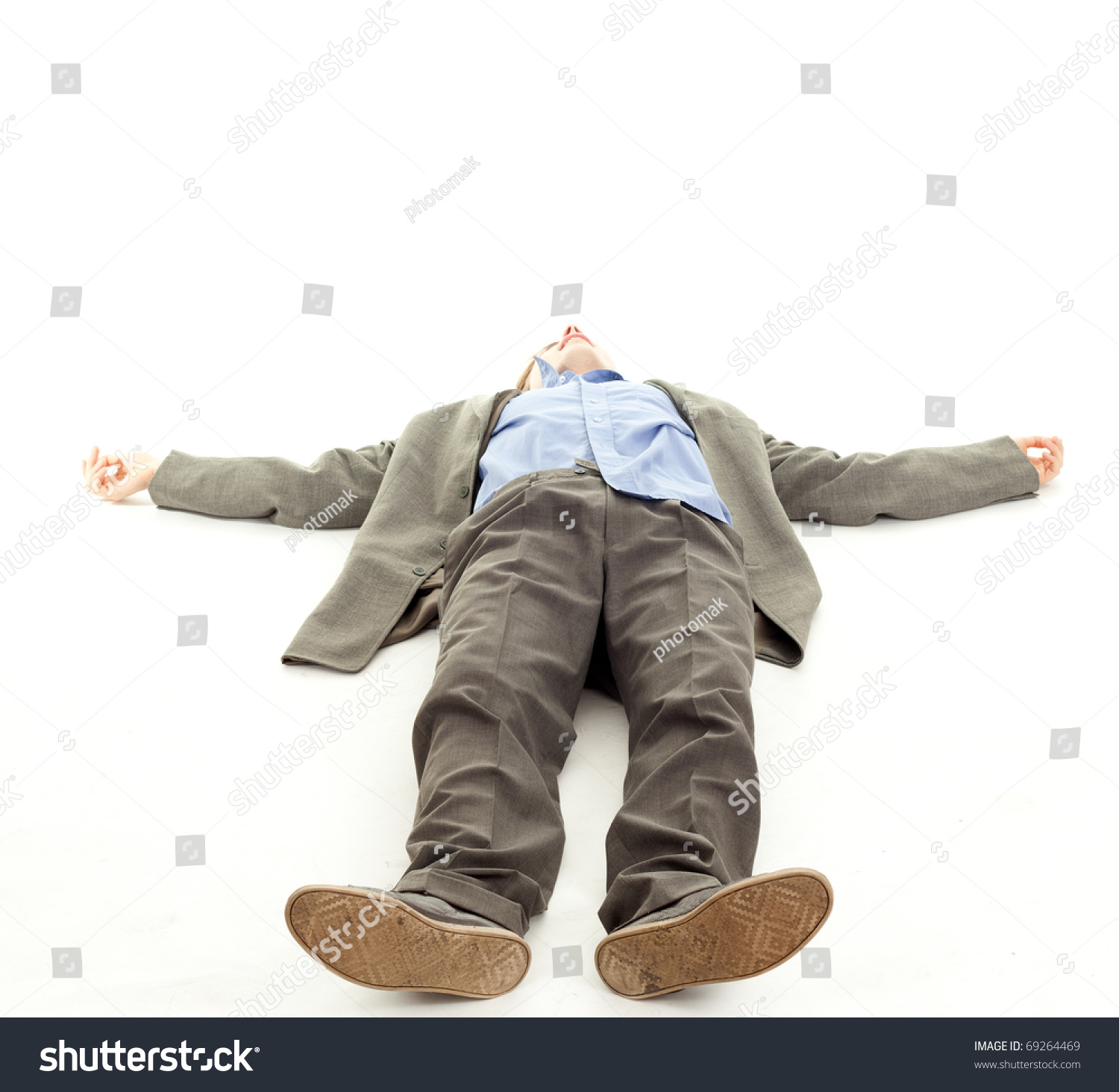 Unrecognized young man lying on floor stock photo 69264469 for On the floor