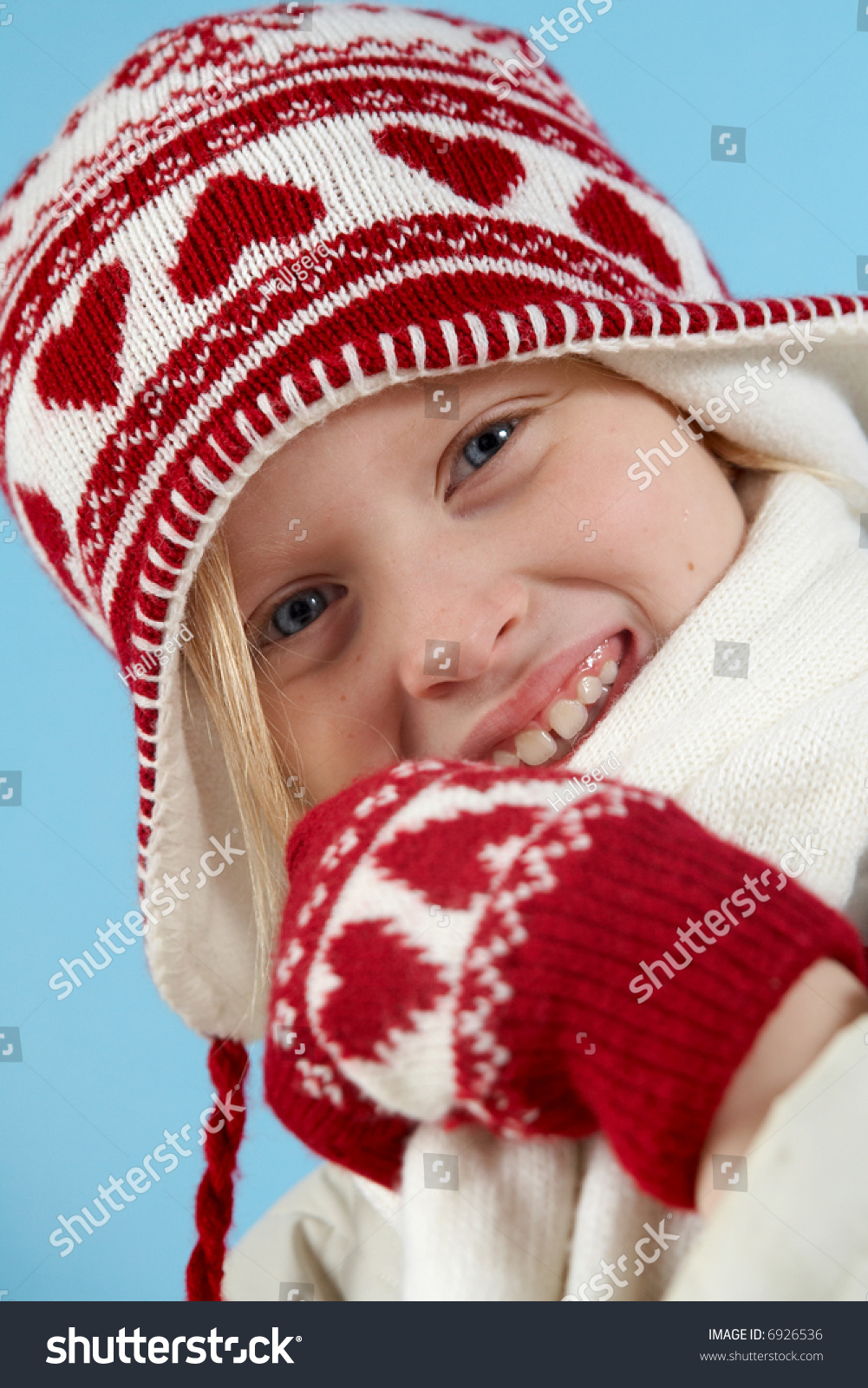 952634184bf6 Little Blond Girl Wearing Woolen Cap Stock Photo (Edit Now) 6926536 ...