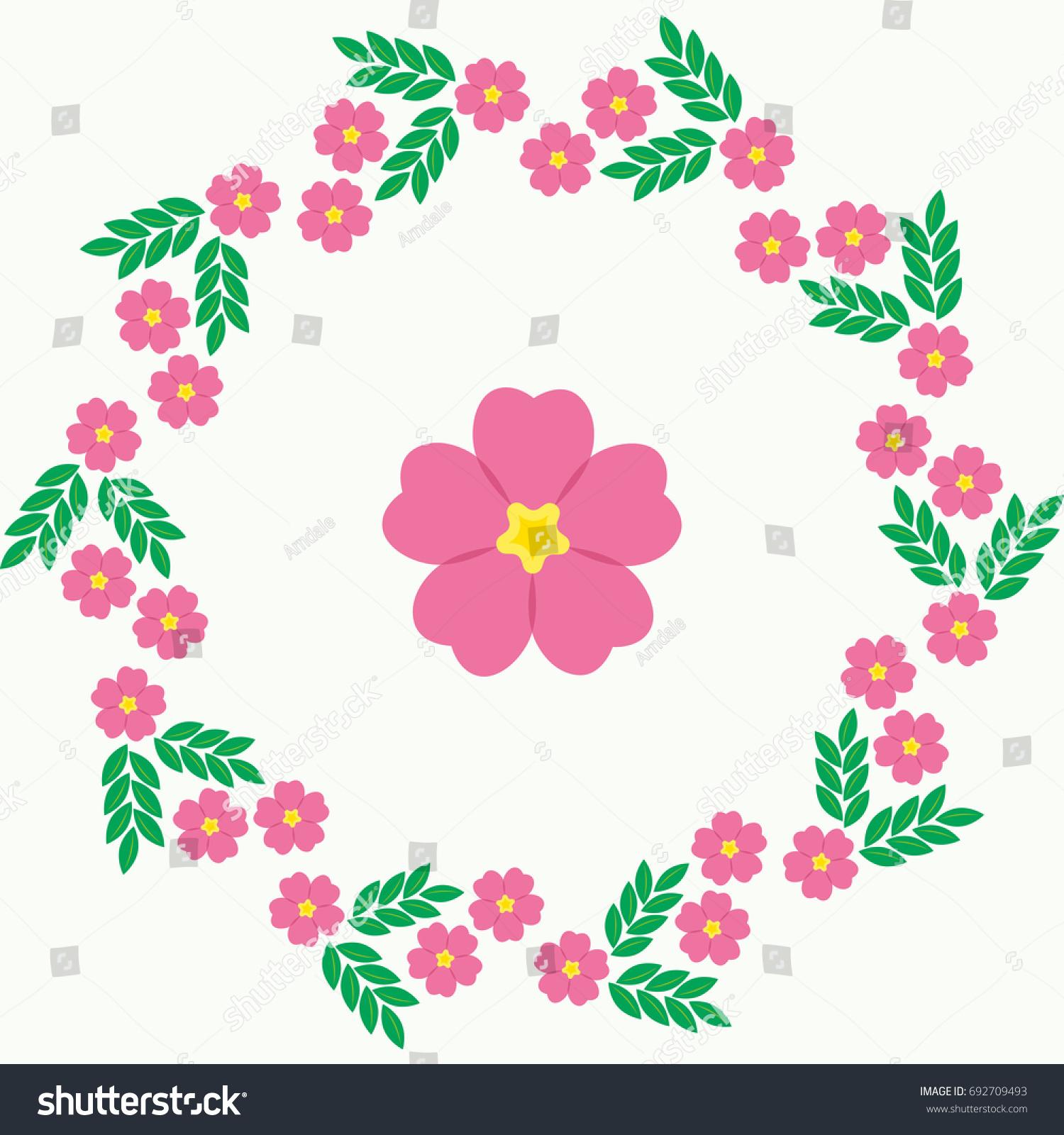 Flower Round Frame Vector