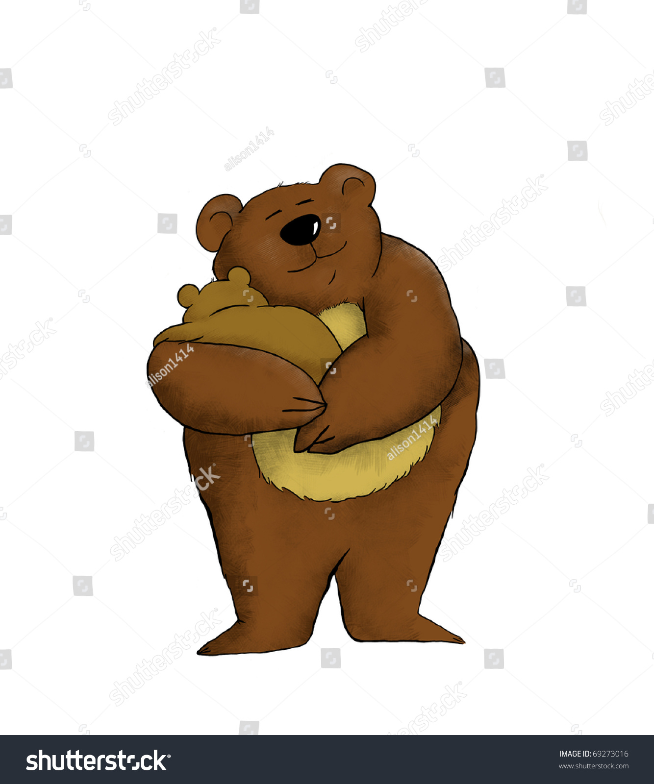 Cartoon Of A Mother Bear Holding Her Baby Stock Photo