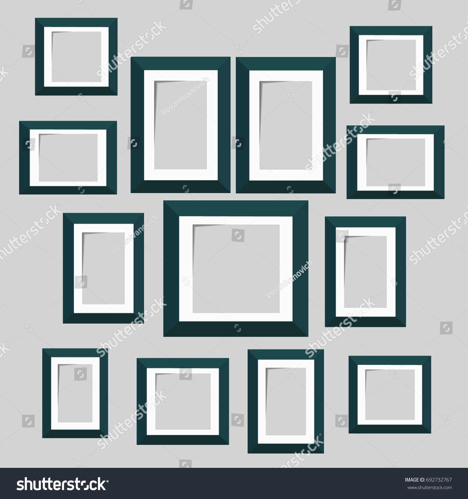 Wall picture frame templates isolated on stock vector 692732767 wall picture frame templates isolated on white background blank photo frames with shadow and borders jeuxipadfo Choice Image