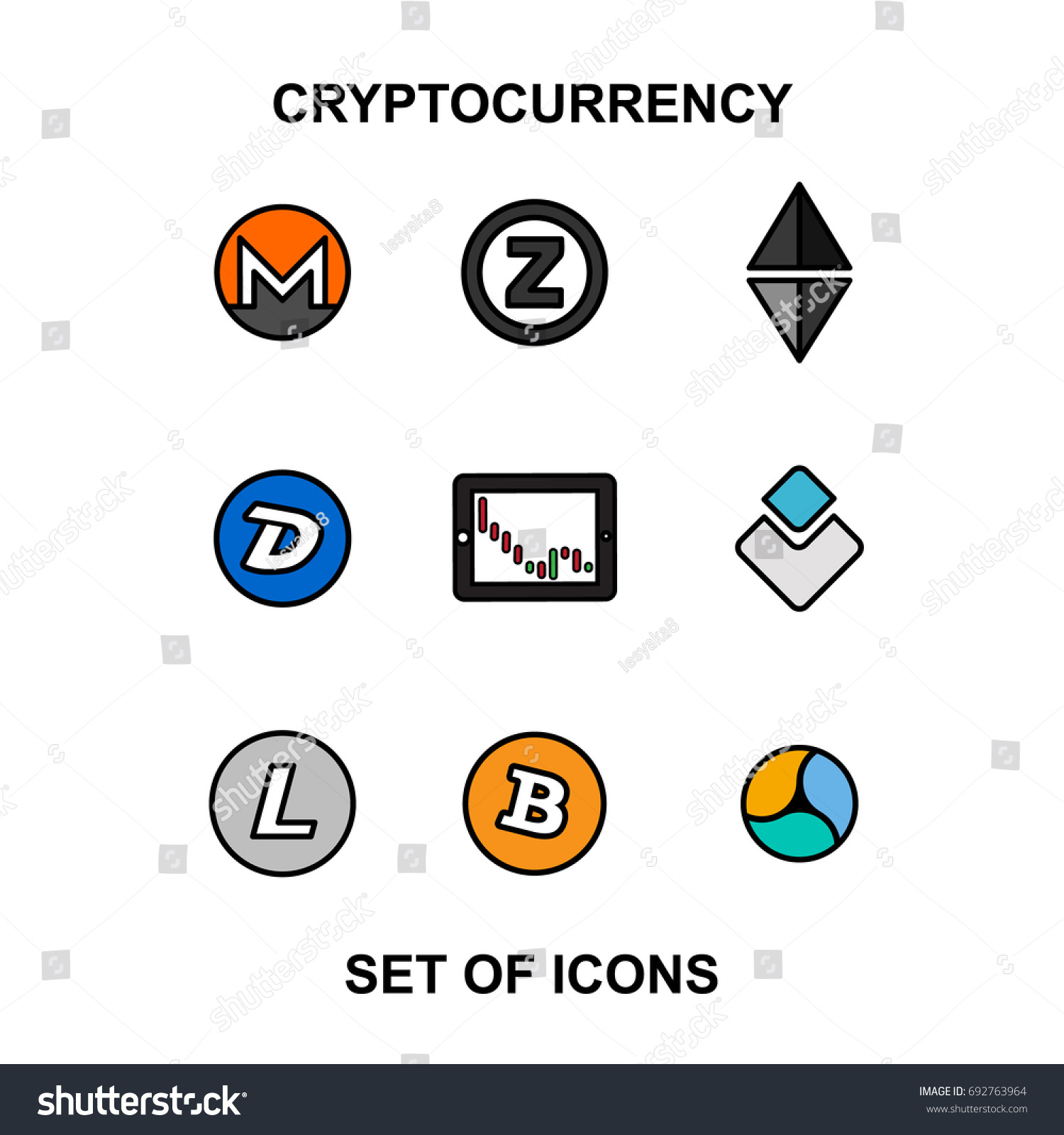 Cryptocurrency Blockchain Icons Set Virtual CurrencyVector Trading Signs Bitcoin Ethereum