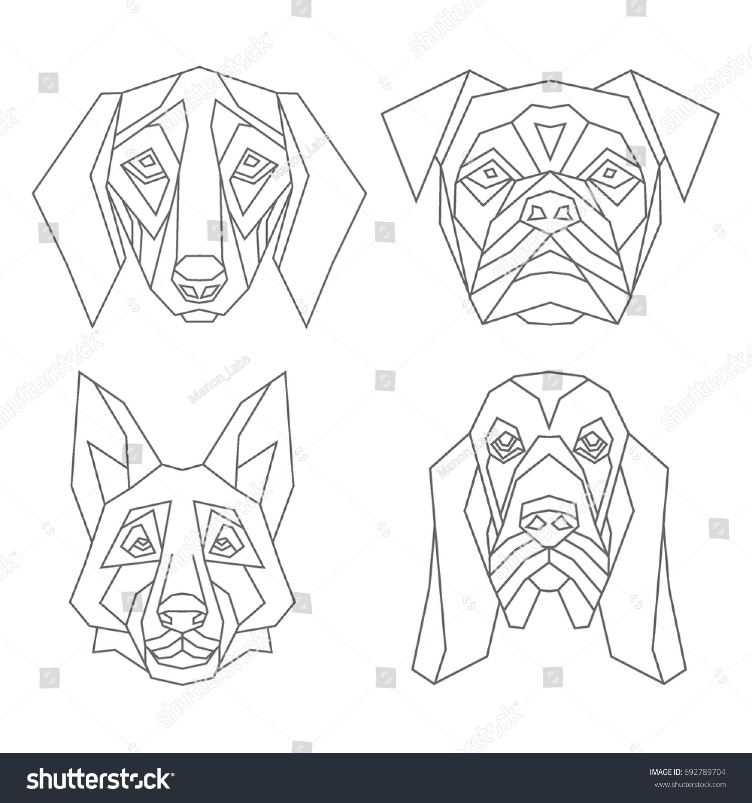 https://image.shutterstock.com/z/stock-vector-geometric-set-of-vector-dog-heads-shepherd-badger-bulldog-spaniel-drawn-in-line-or-triangle-692789704.jpg
