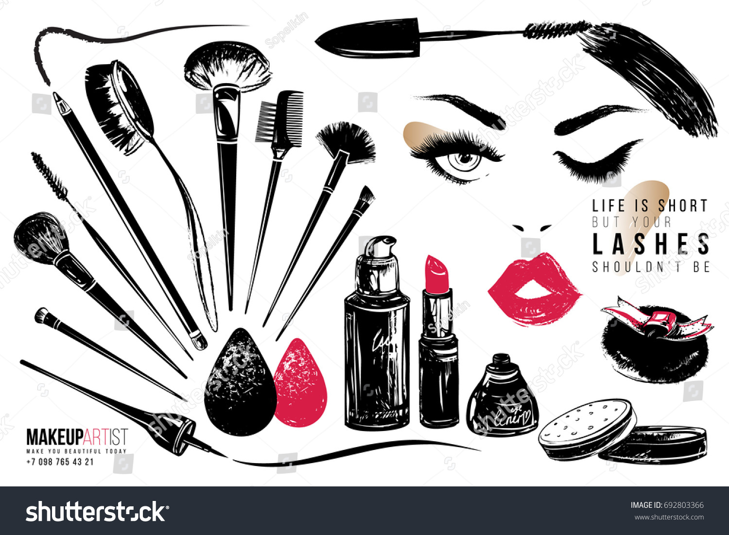 Makeup Artist Tools Beauty Products Vector Stock Vector