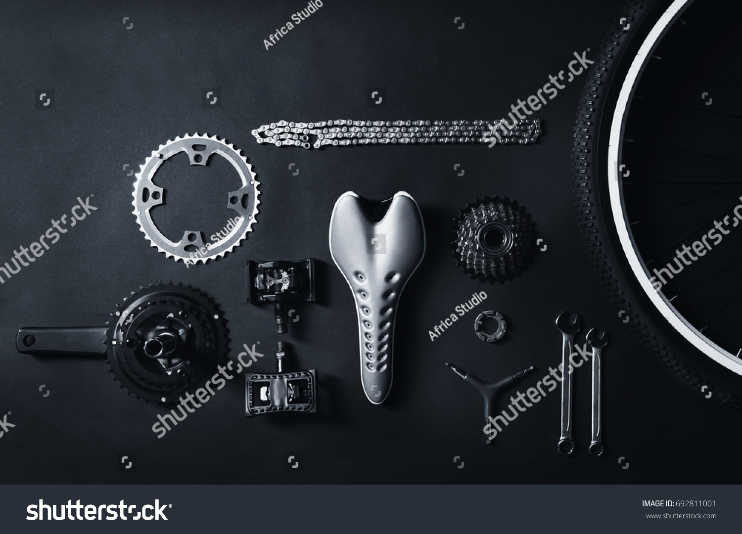 Bicycle Parts Repair Tools On Gray Stock Photo Edit Now 692811001 Diagram Of And Background