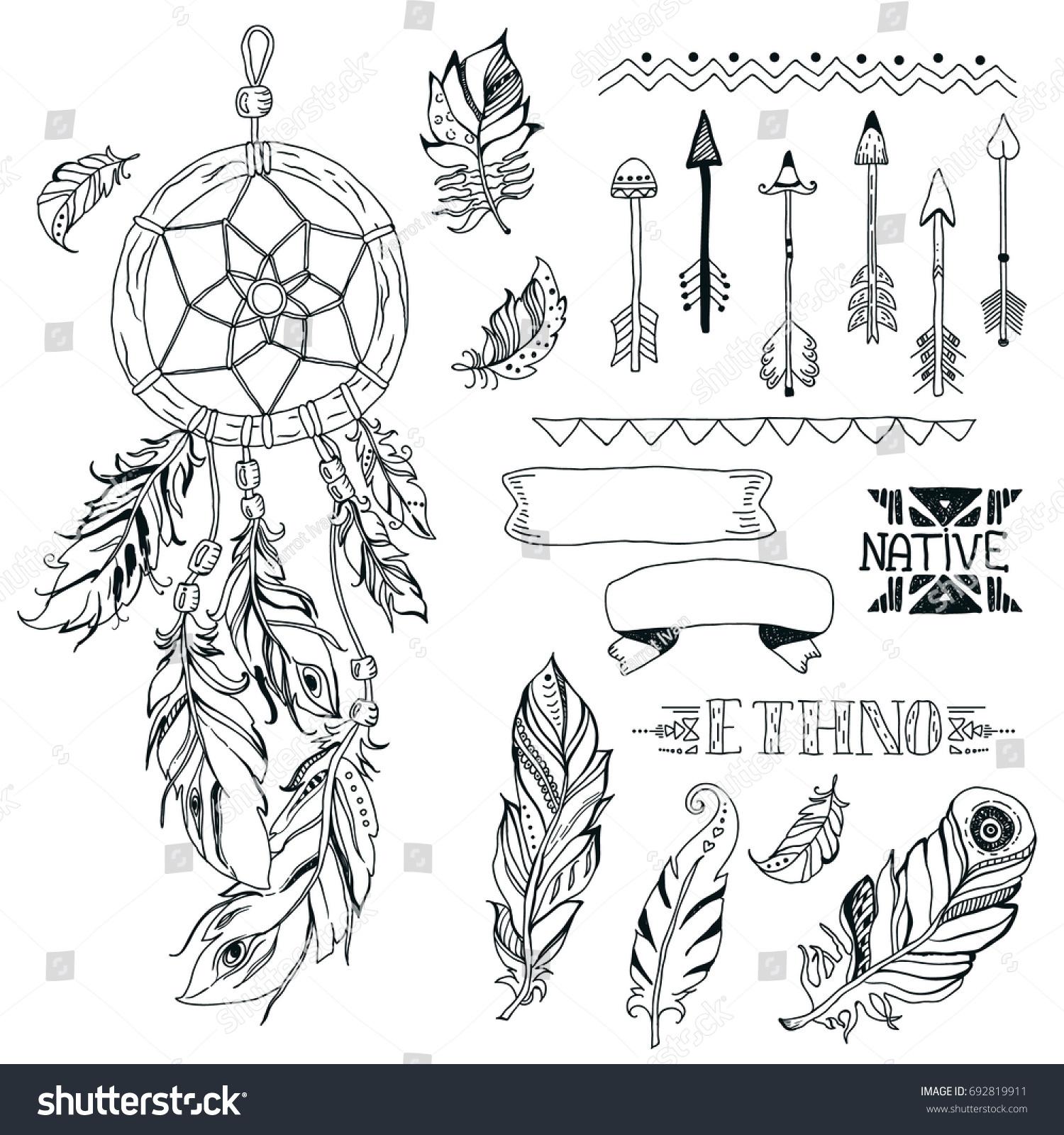 Tribal design elements aztec symbols arrows stock illustration tribal design elements aztec symbols arrows dream catcherribbon native american biocorpaavc Gallery