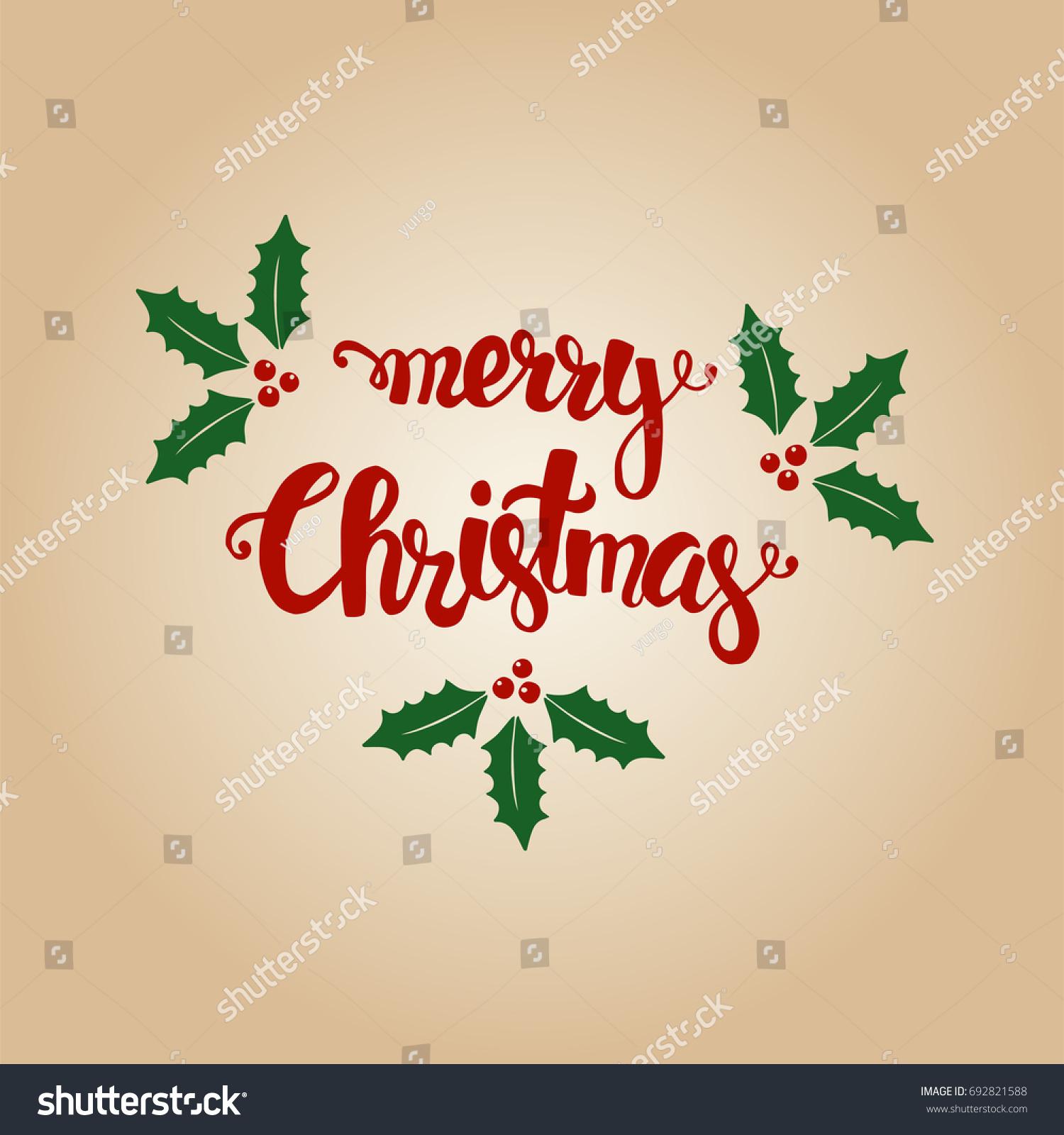 Merry Christmas Hand Drawn Christmas Greeting Stock Vector (Royalty ...