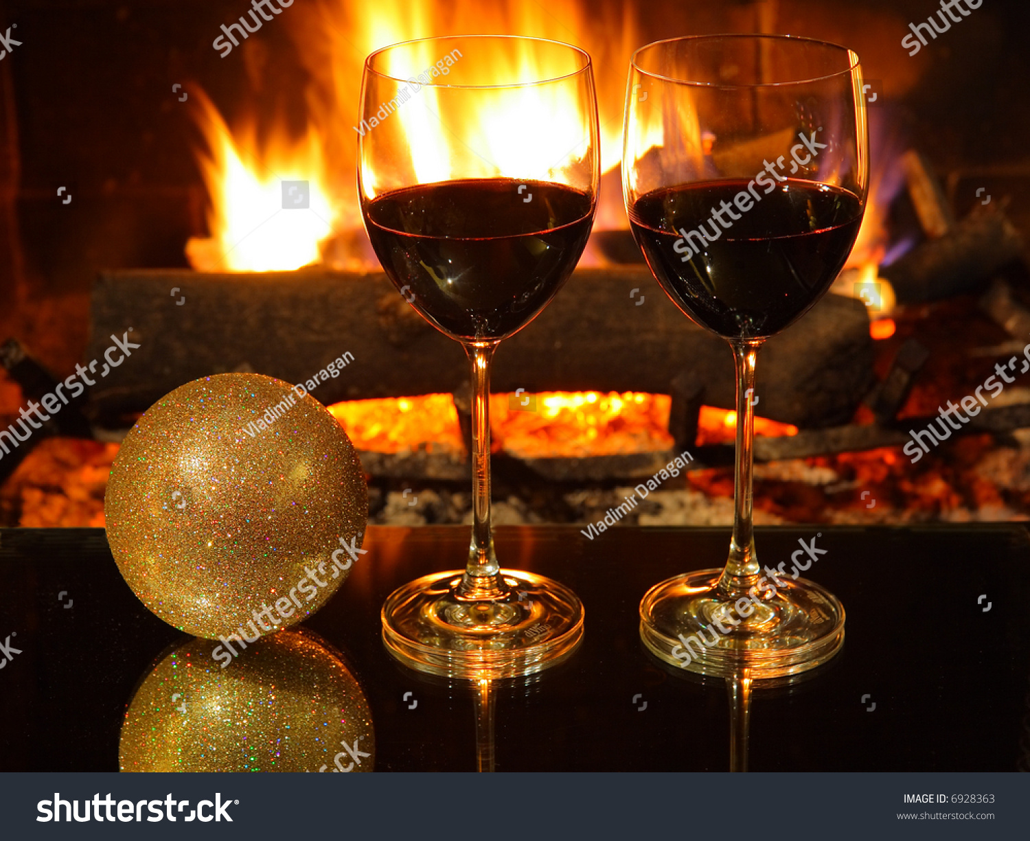 Romantic Dinner Two Two Glasses Red Stock Photo 6928363 - Shutterstock