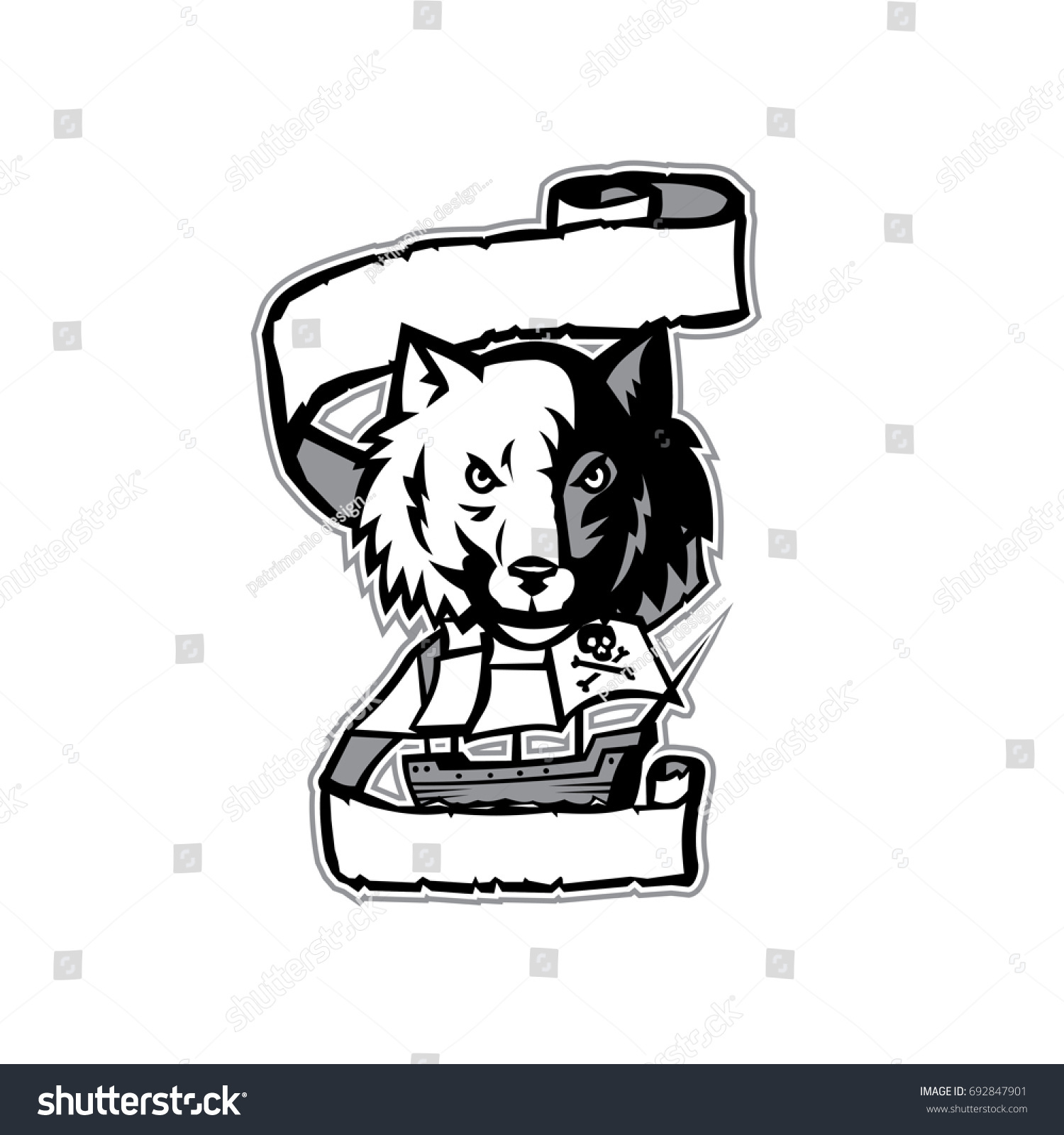 illustration wolf head viewed front pirate stock vector 692847901