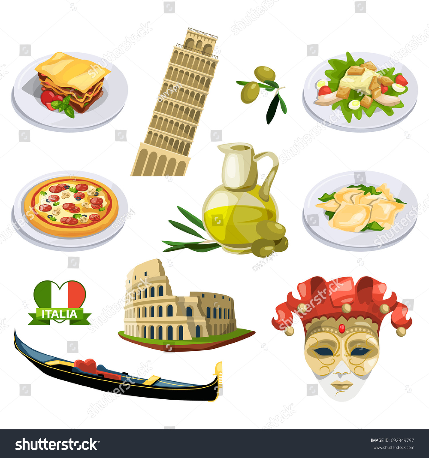 Different Traditional Elements Symbols Italy Venice Stock