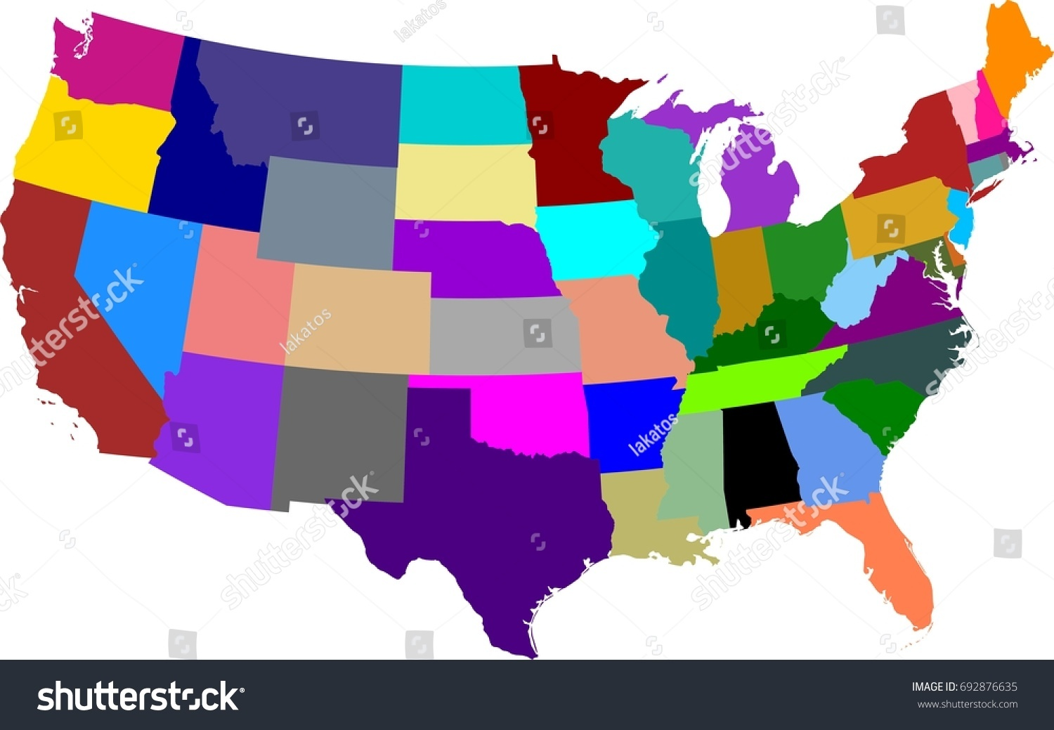 Colored Map United States America Split Stock Vector - Us map states only