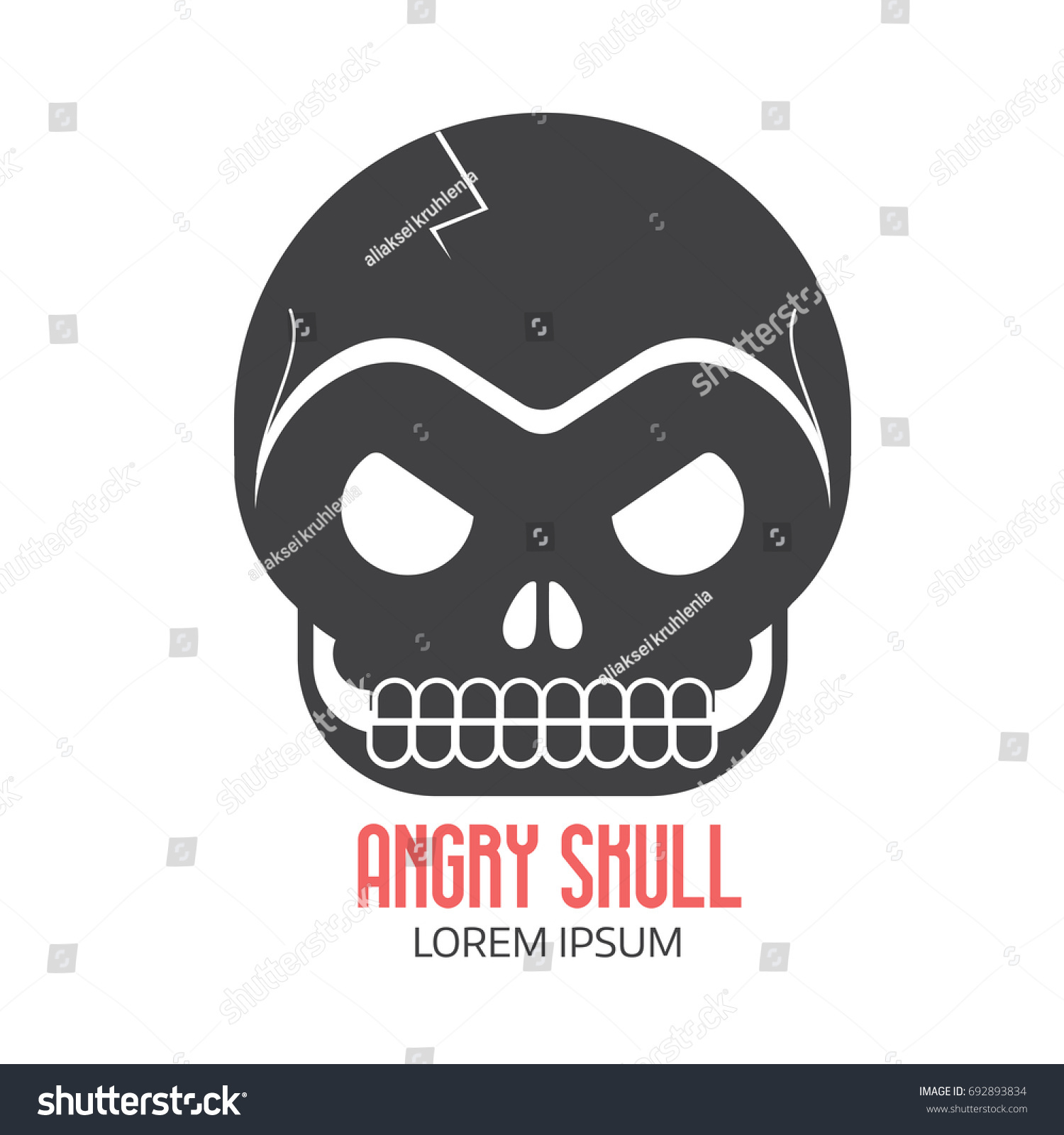 Angry Human Skull Logo Label Template Stock Vector Royalty Free