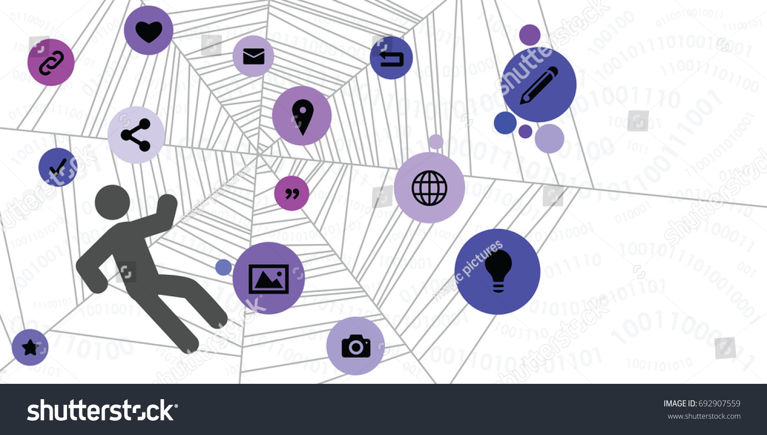 Vector Illustration Spider Web Caught Person Stock Vector Royalty