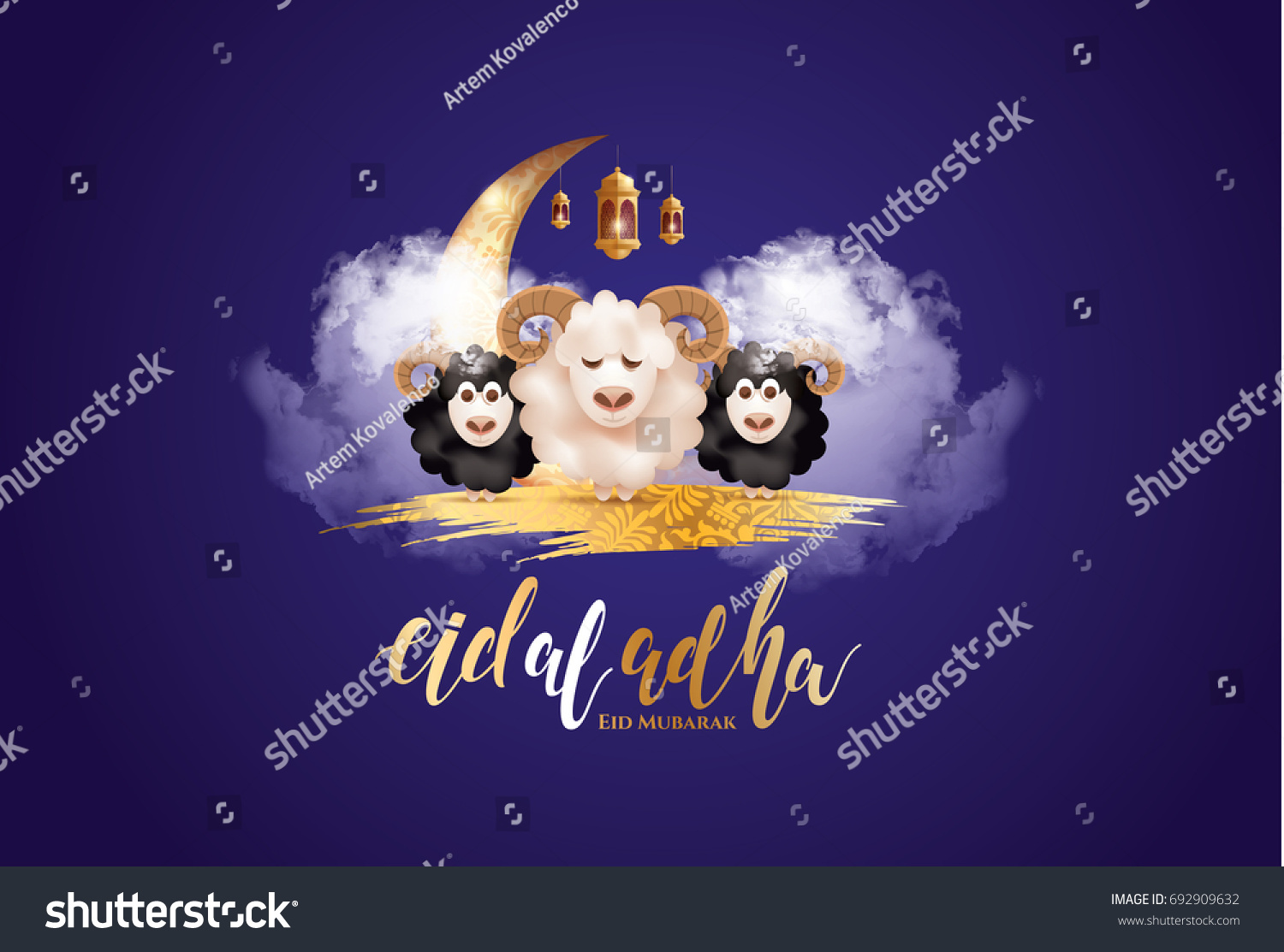 vector illustration. Muslim holiday Eid al-Adha. the sacrifice a ram or white and black sheep. graphic design decoration kurban bayrami. month lamb and a lamp.Translation from Arabic: Eid al-Adha #692909632
